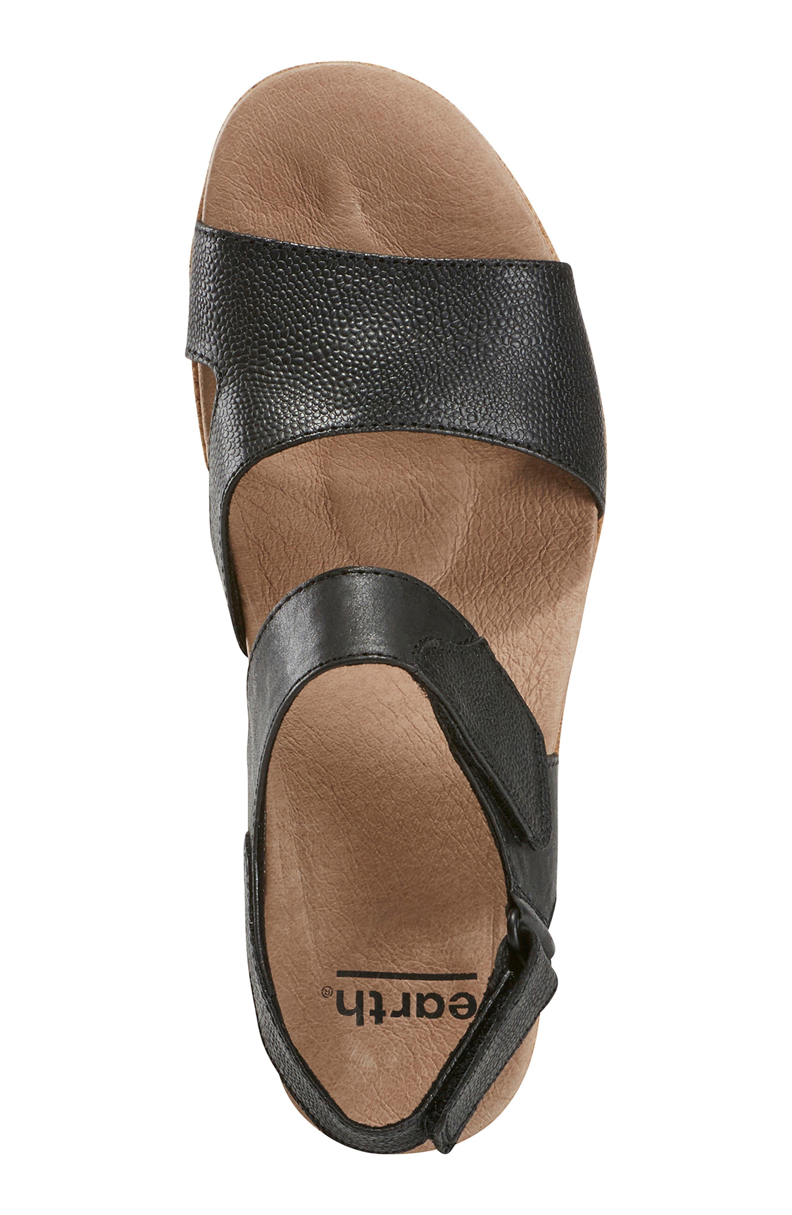 EARTH<SUP>®</SUP>, Kella Platform Sandal, Alternate thumbnail 5, color, BLACK LEATHER
