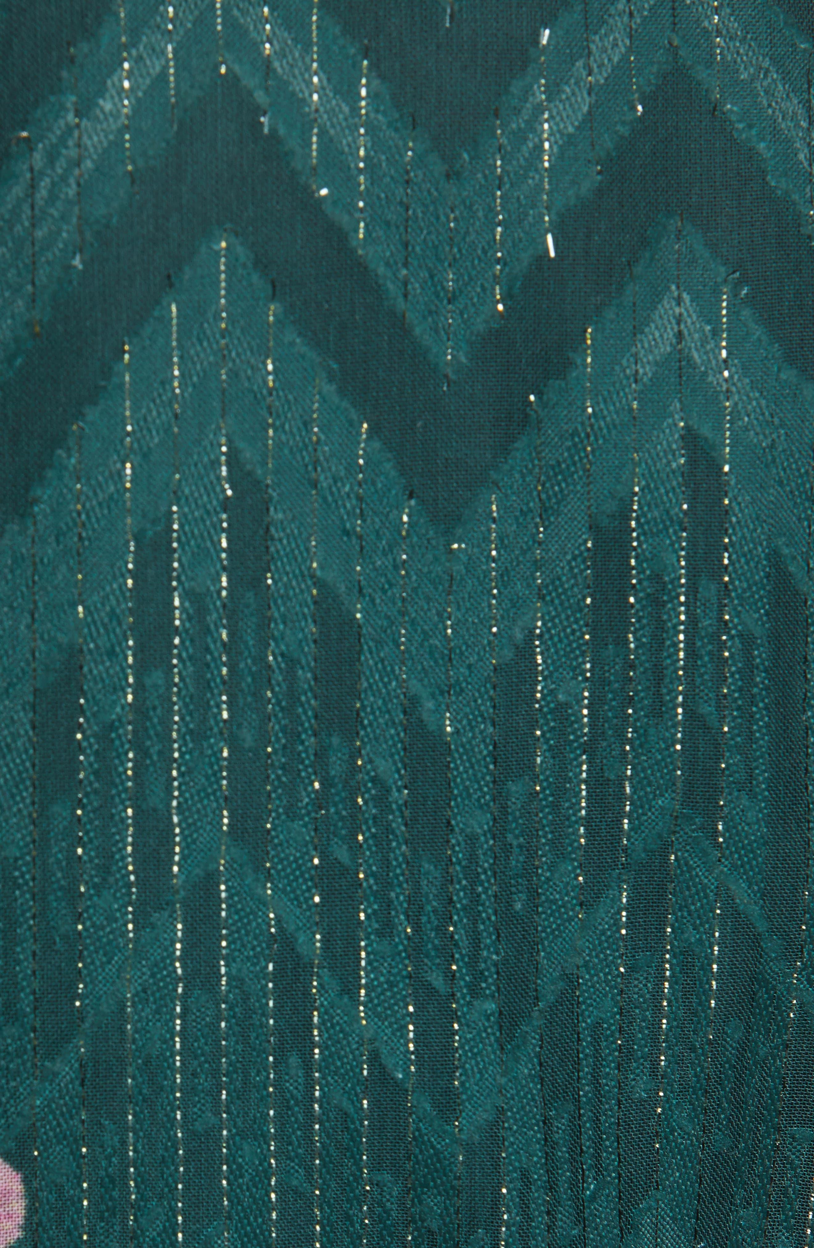 TED BAKER LONDON, Sofiya Floral Ribbon Tie Dress, Alternate thumbnail 6, color, DARK GREEN