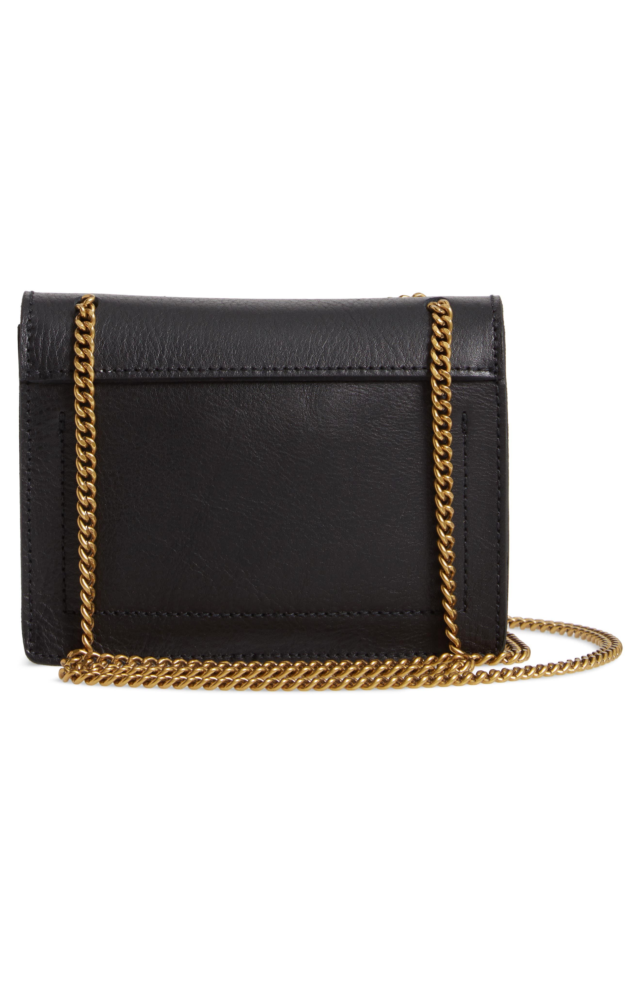 MADEWELL, Leather Crossbody Wallet, Alternate thumbnail 3, color, TRUE BLACK