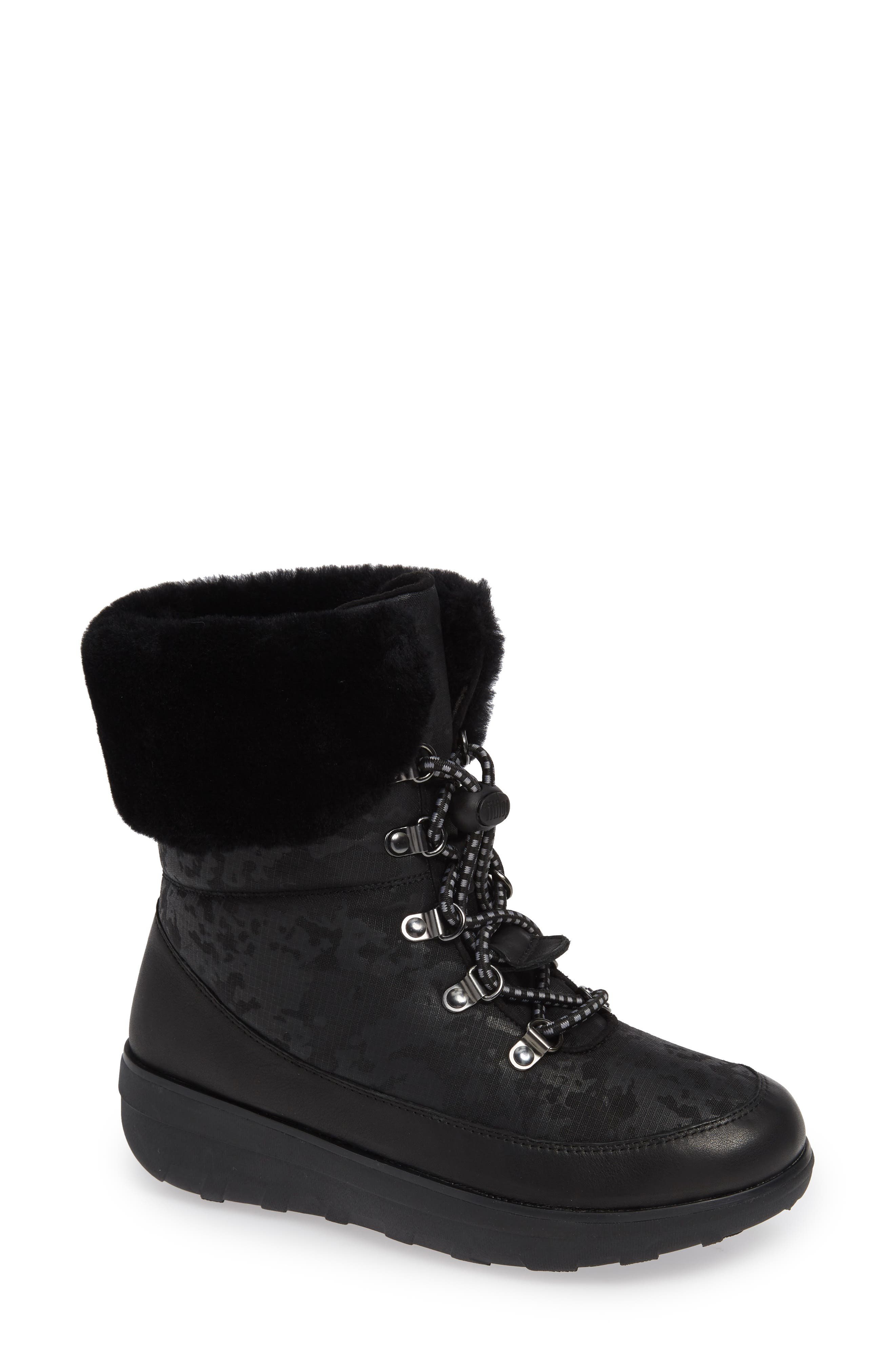 Fitflop Holly Genuine Shearling Lined Bootie, Black