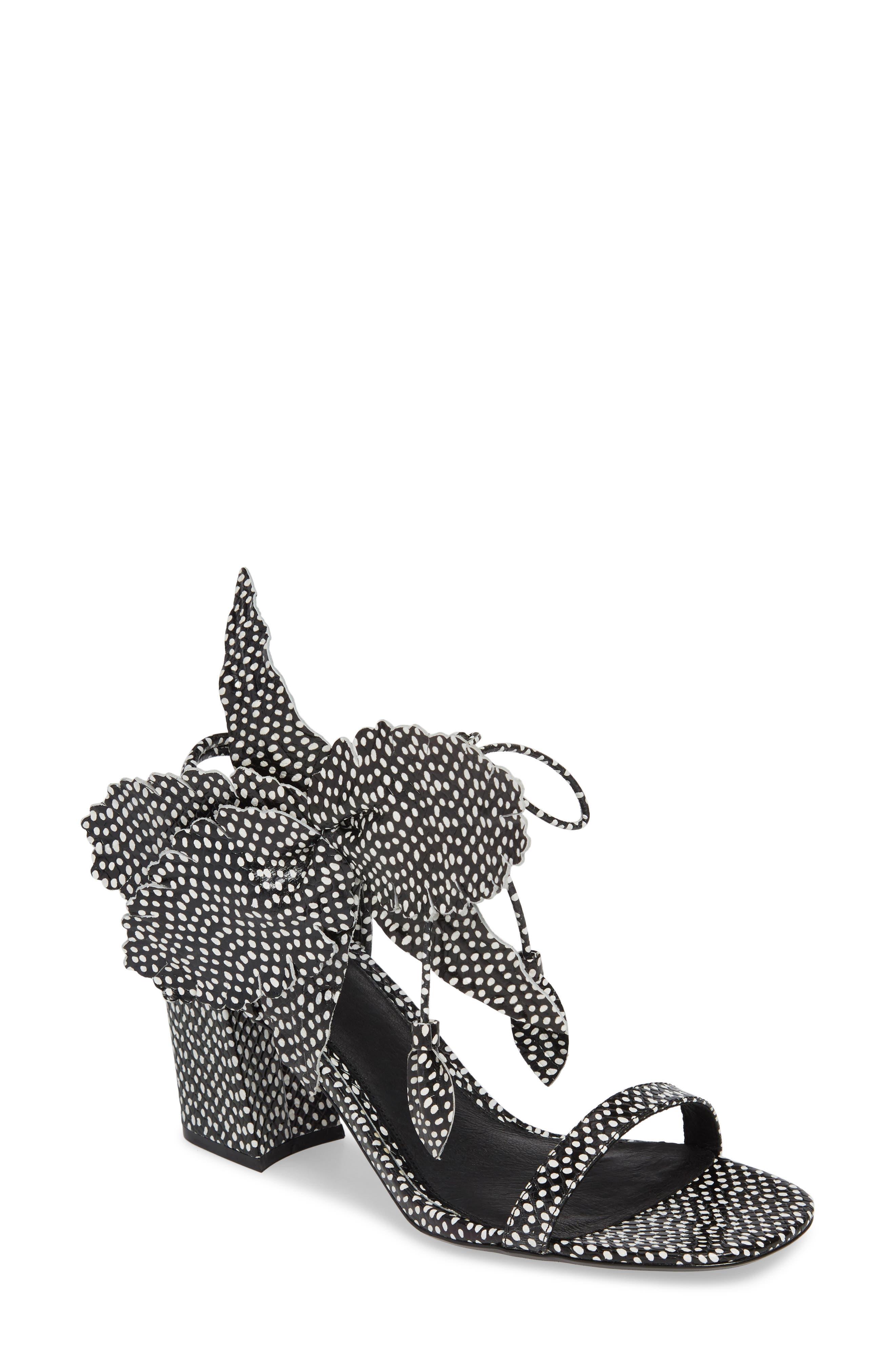 CECELIA NEW YORK, Hibiscus Sandal, Main thumbnail 1, color, BLACK AND WHITE DOT