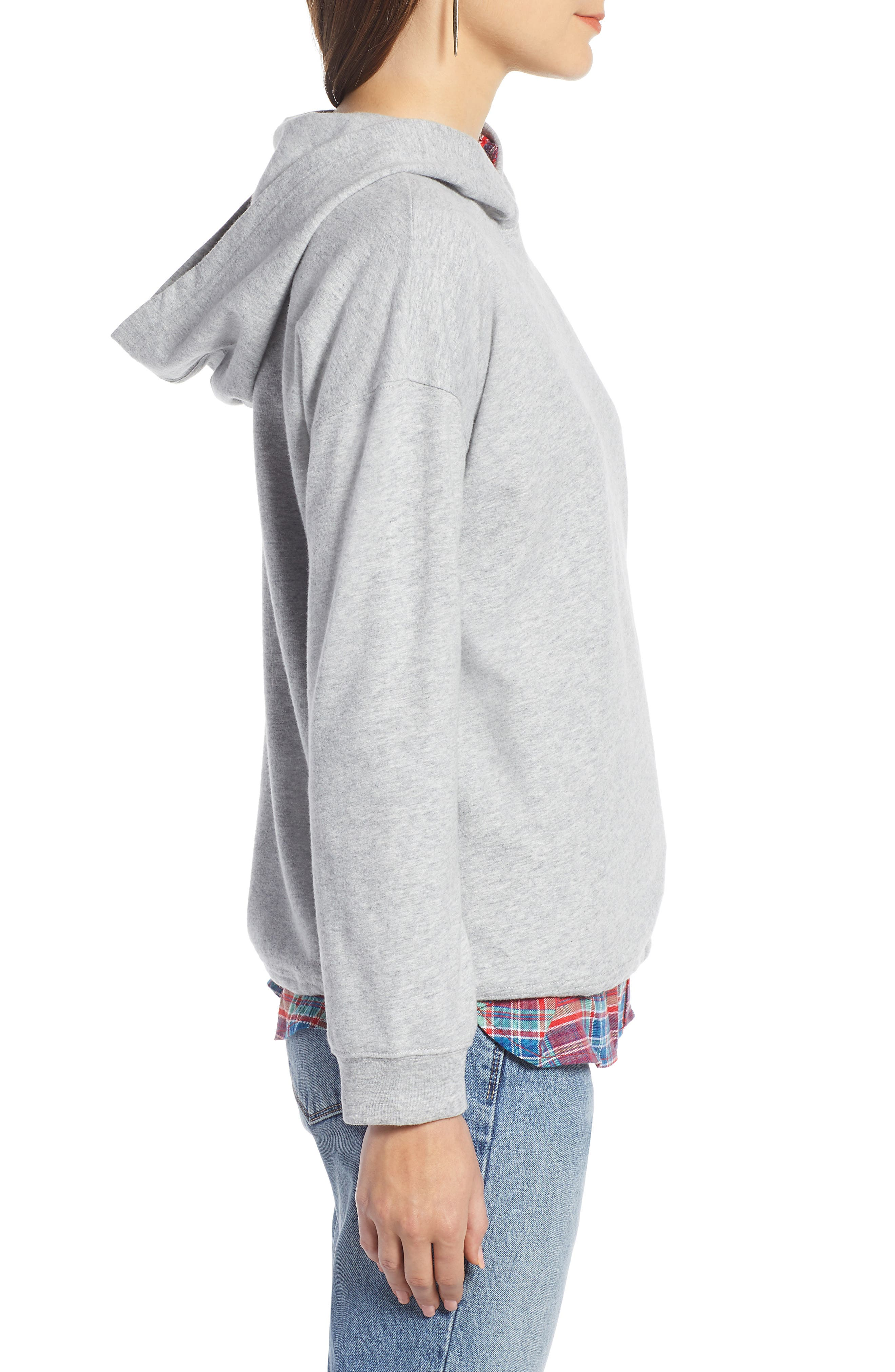TREASURE & BOND, Drawstring Detail Hoodie, Alternate thumbnail 3, color, 030