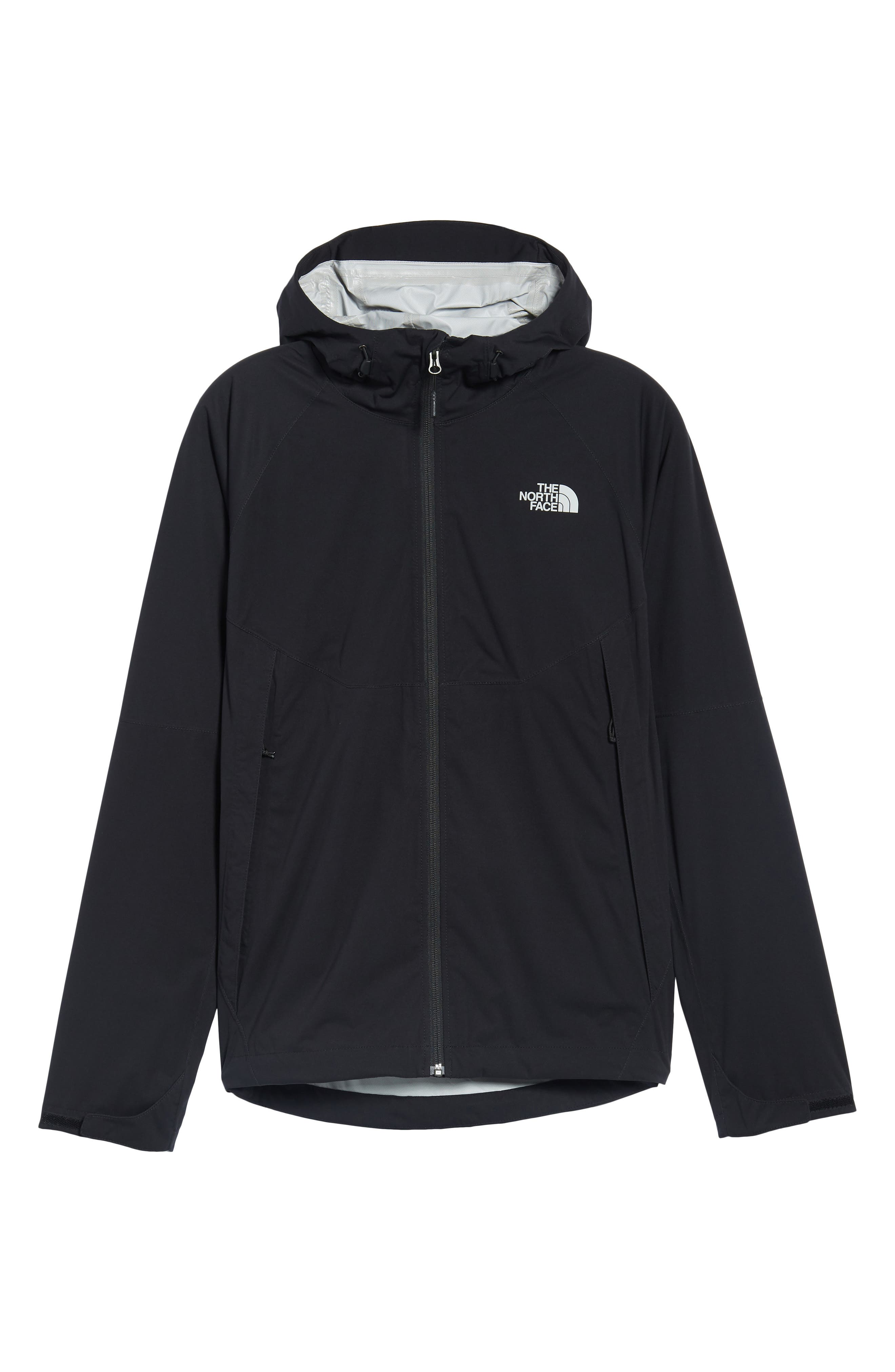 THE NORTH FACE, Allproof Stretch Hooded Rain Jacket, Alternate thumbnail 6, color, 001