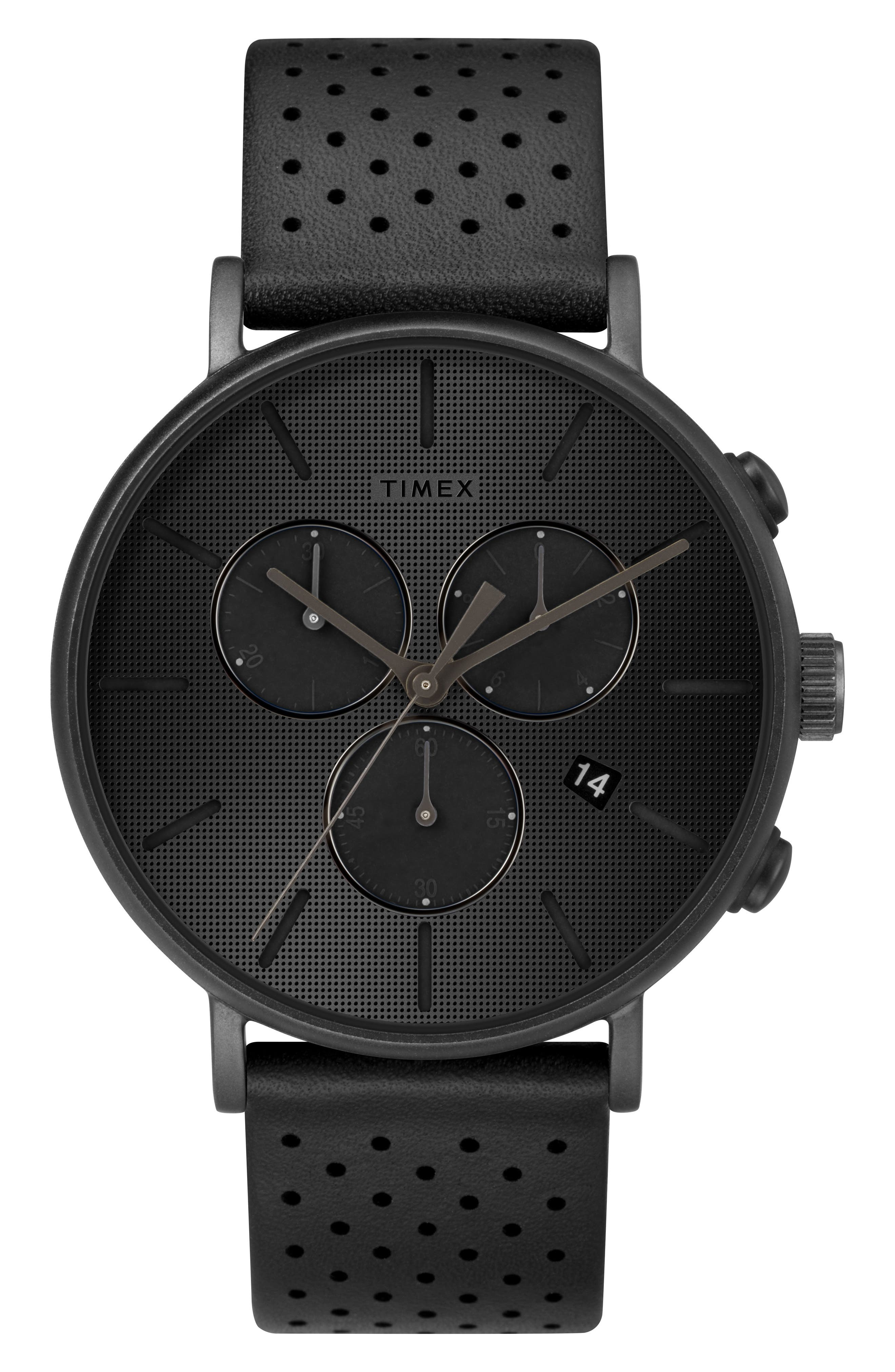 TIMEX<SUP>®</SUP>, Fairfield Chronograph Leather Strap Watch, 41mm, Main thumbnail 1, color, BLACK