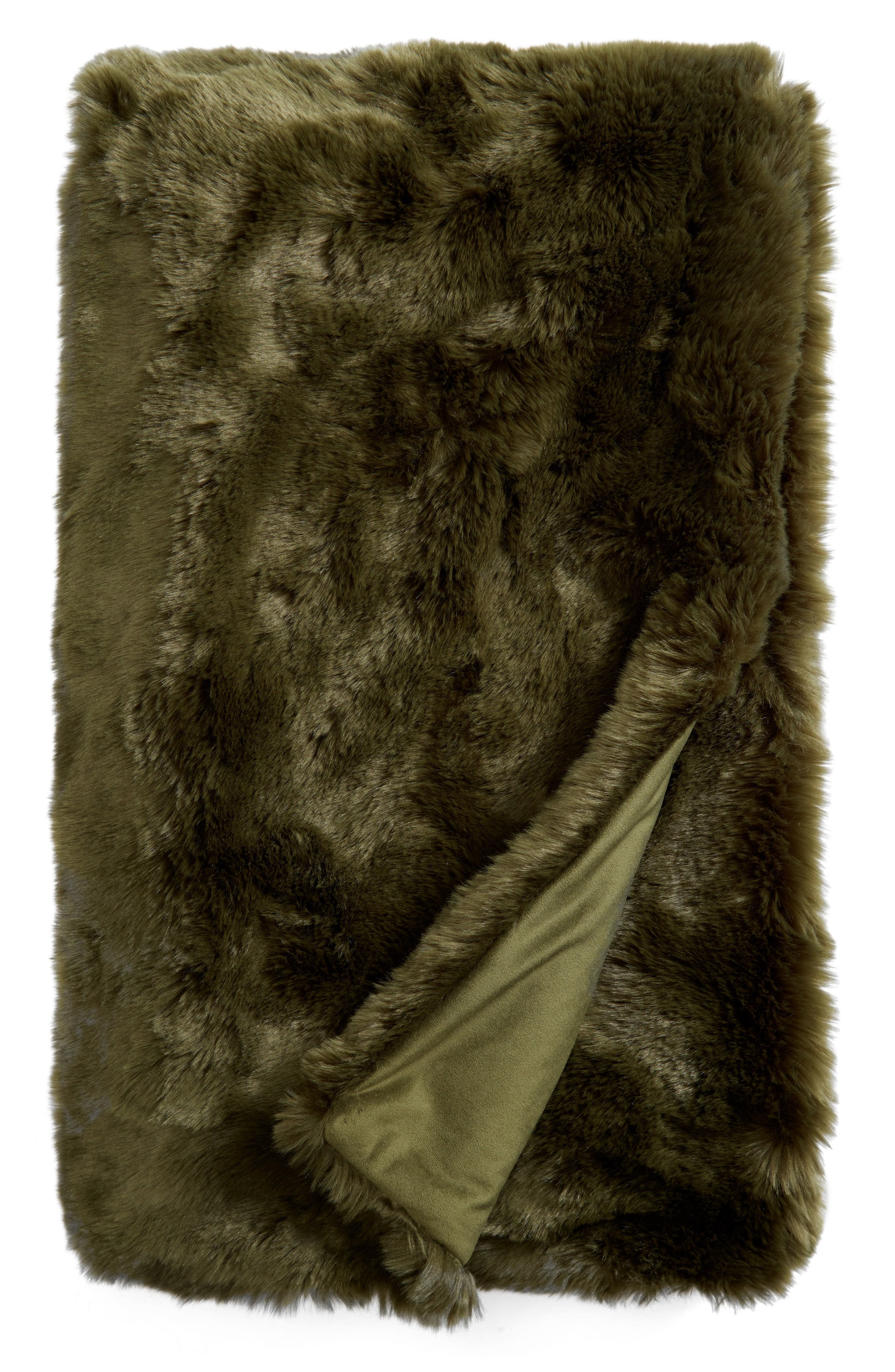 NORDSTROM AT HOME, Cuddle Up Faux Fur Throw Blanket, Alternate thumbnail 2, color, GREEN CYPRESS