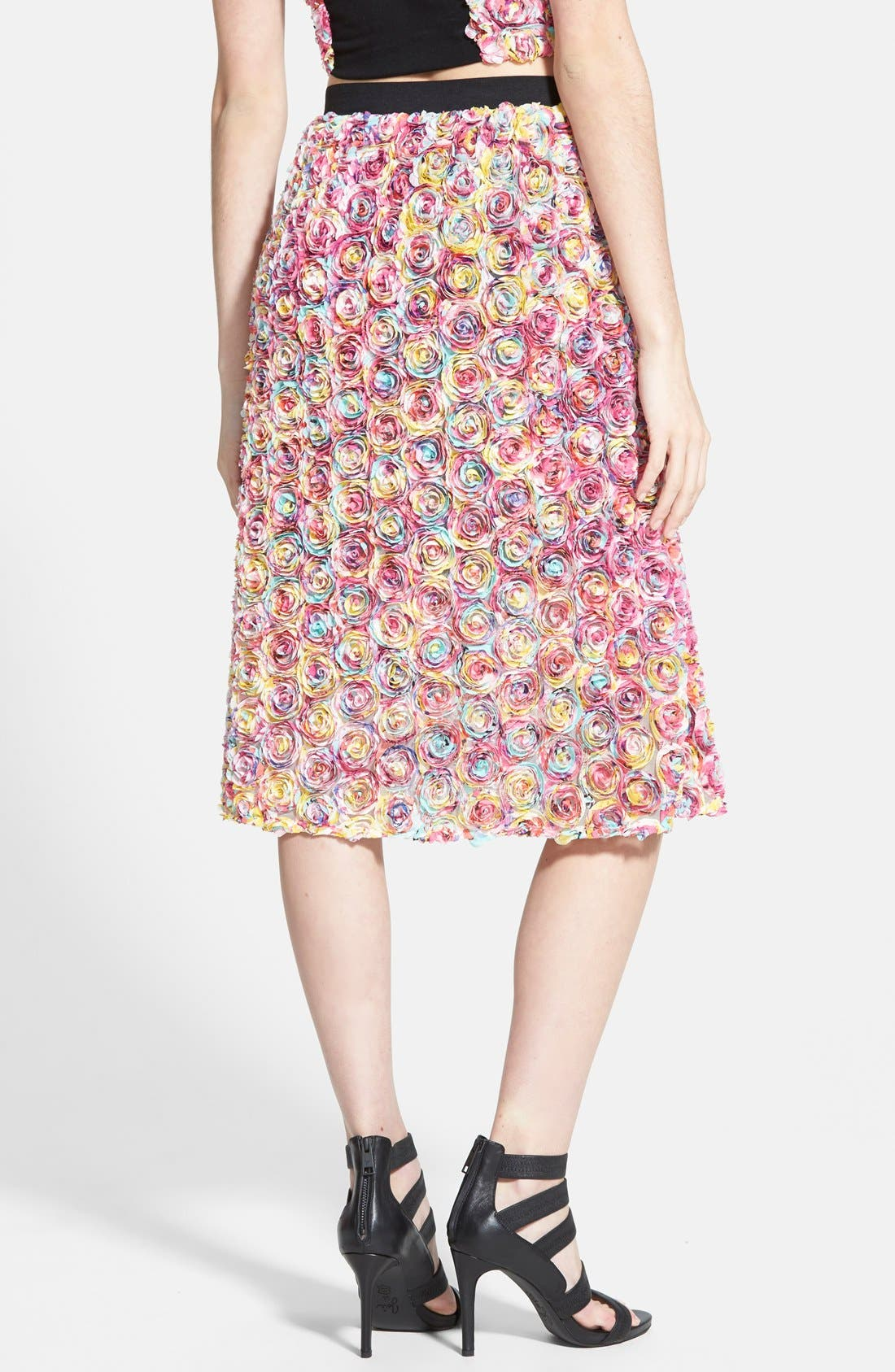 LEITH, Dimensional Floral Midi Skirt, Alternate thumbnail 3, color, 650