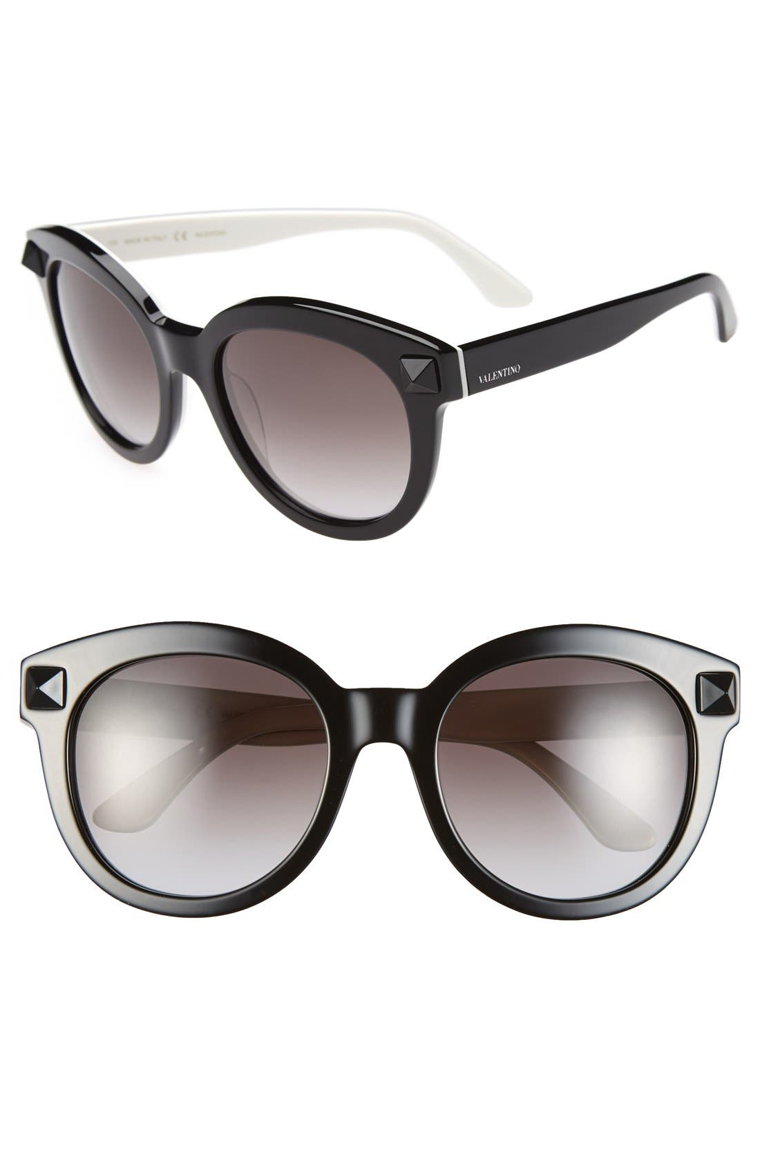 VALENTINO, 'Rockstud' 54mm Semi Oval Cat Eye Sunglasses, Main thumbnail 1, color, 015