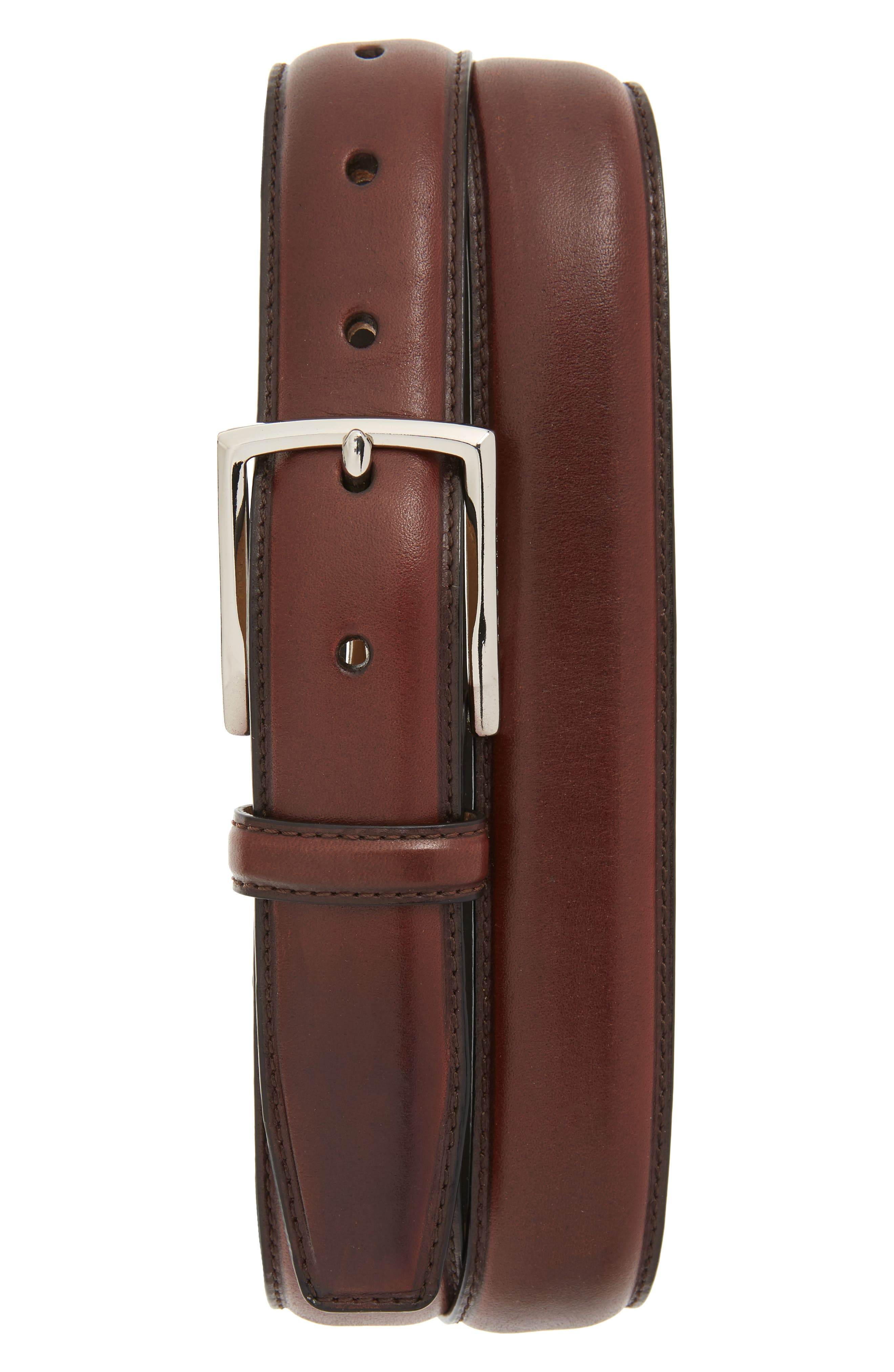 COLE HAAN Leather Belt, Main, color, CHOCOLATE