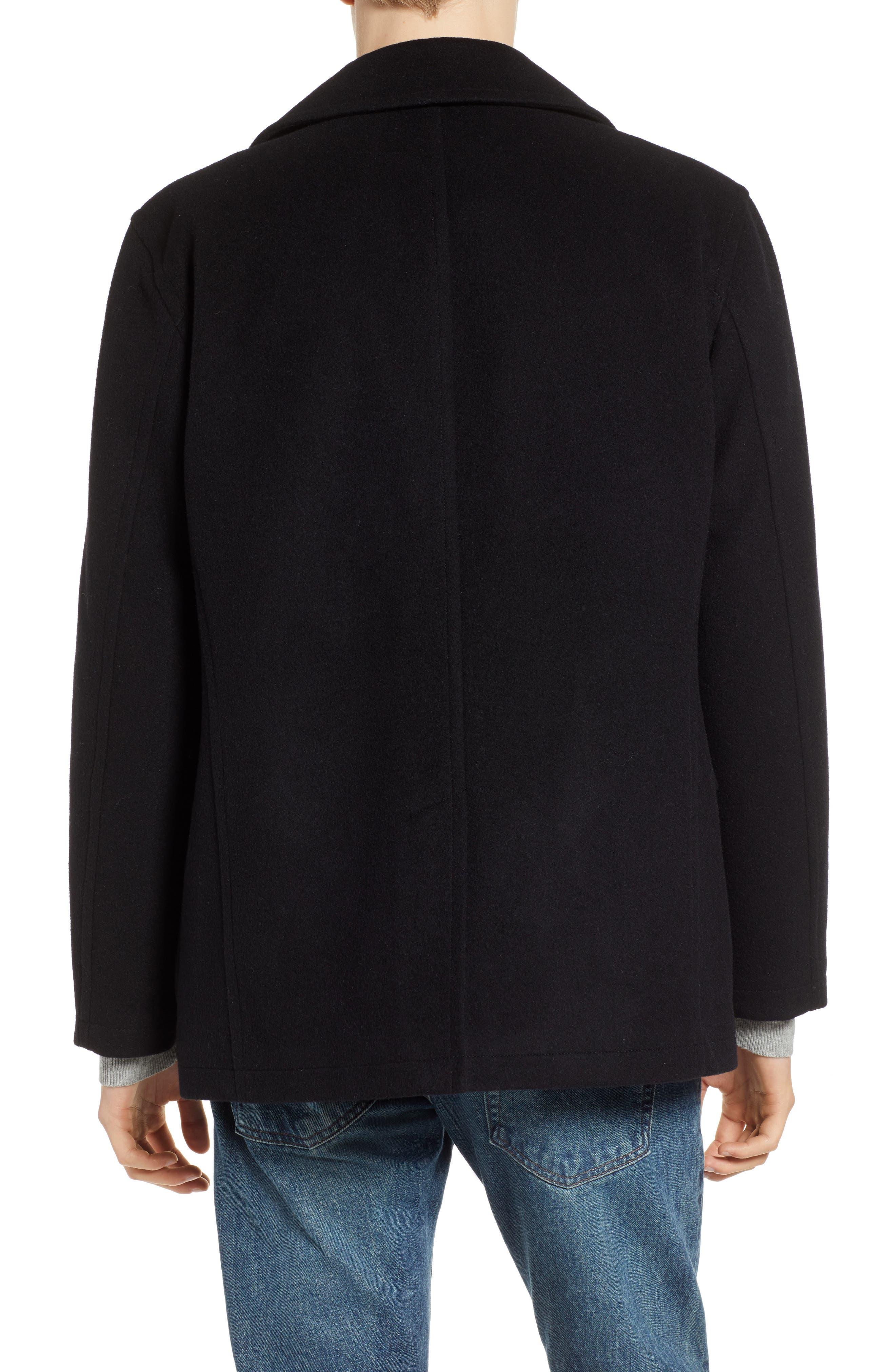 PENDLETON, Maritime Wool Blend Peacoat, Alternate thumbnail 2, color, BLACK