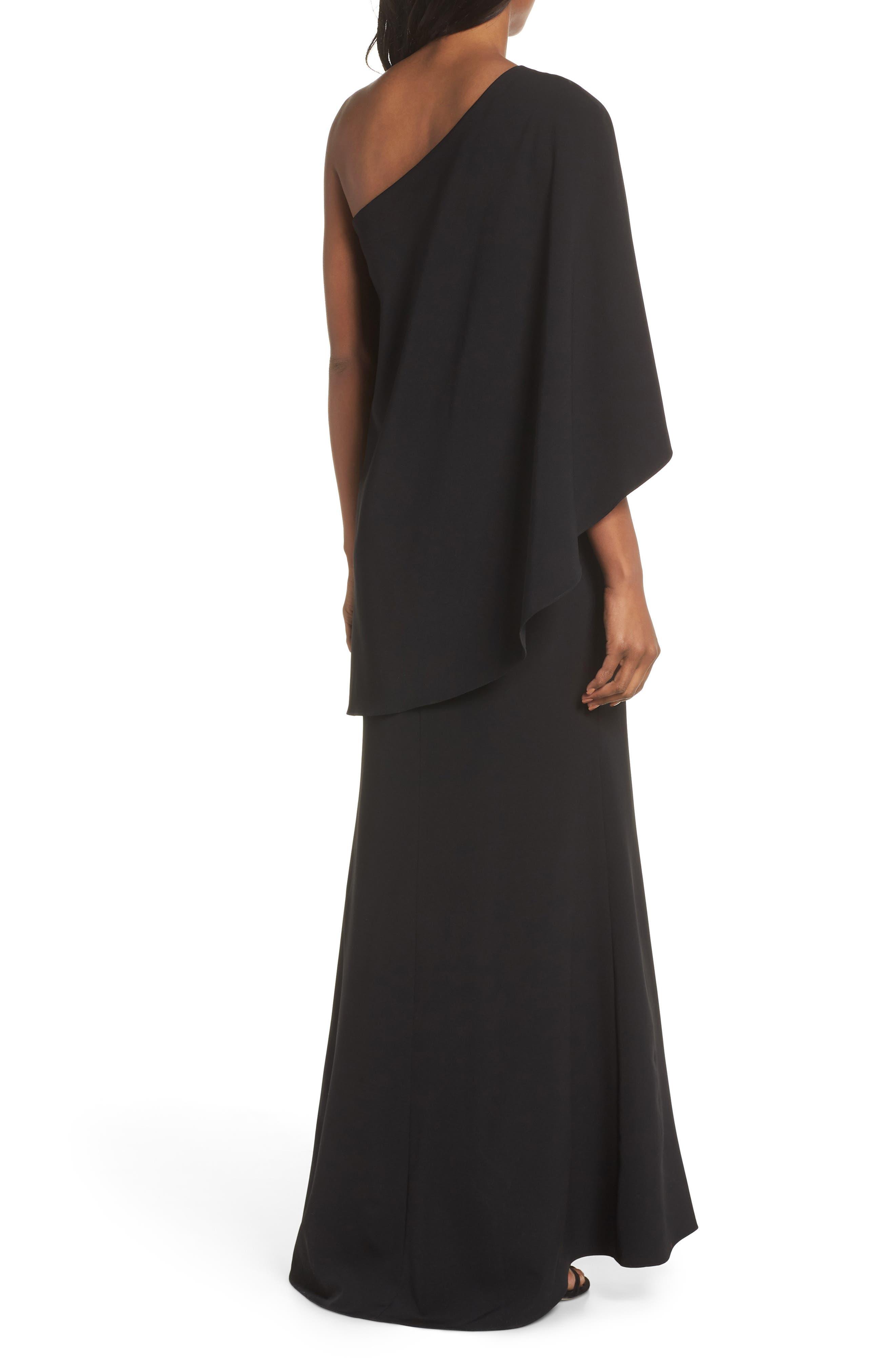 VINCE CAMUTO, One-Shoulder Cape Evening Dress, Alternate thumbnail 2, color, BLACK