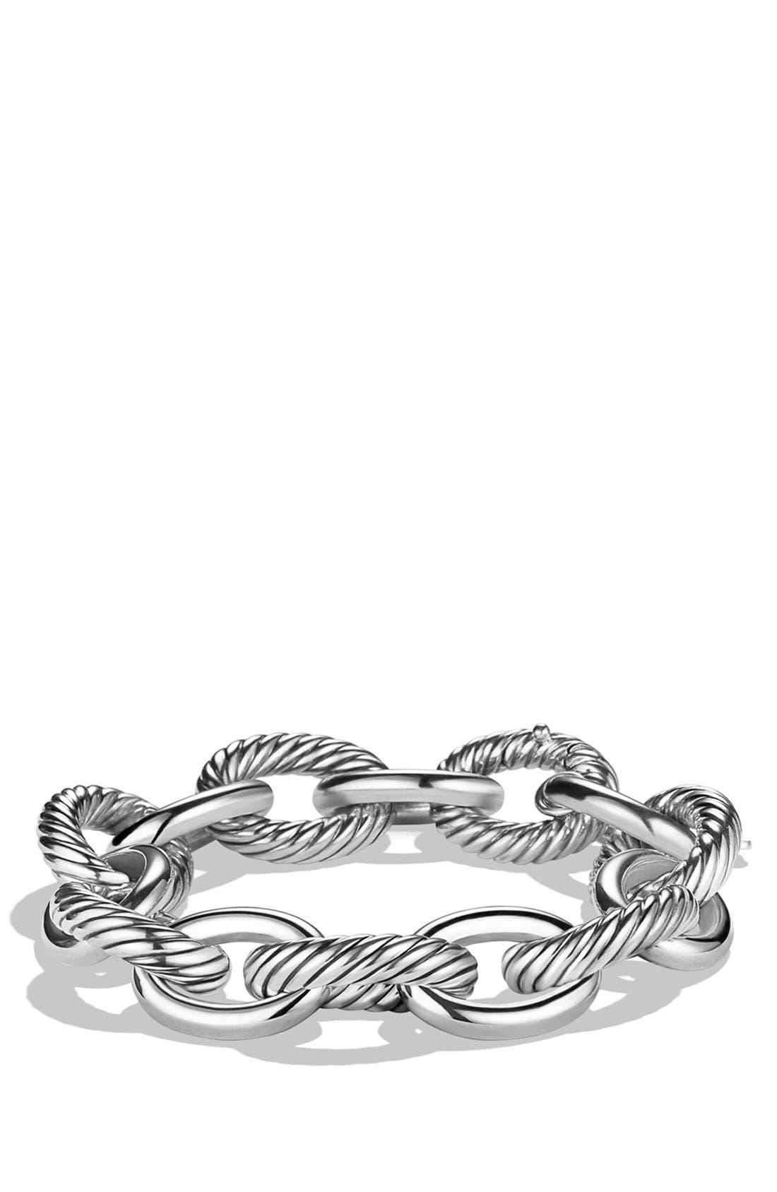 DAVID YURMAN, 'Oval' Extra Large Link Bracelet, Main thumbnail 1, color, SILVER
