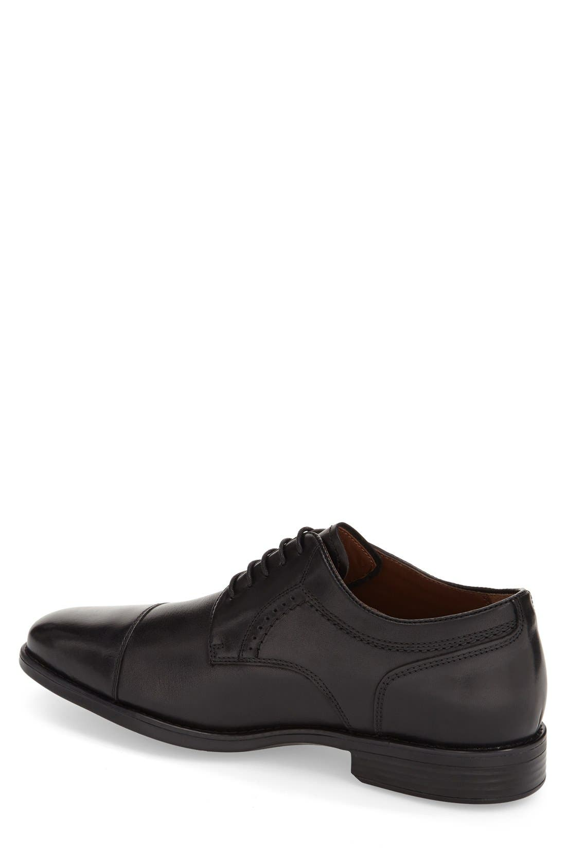 JOHNSTON & MURPHY, 'Branning' Waterproof Cap Toe Derby, Alternate thumbnail 2, color, BLACK