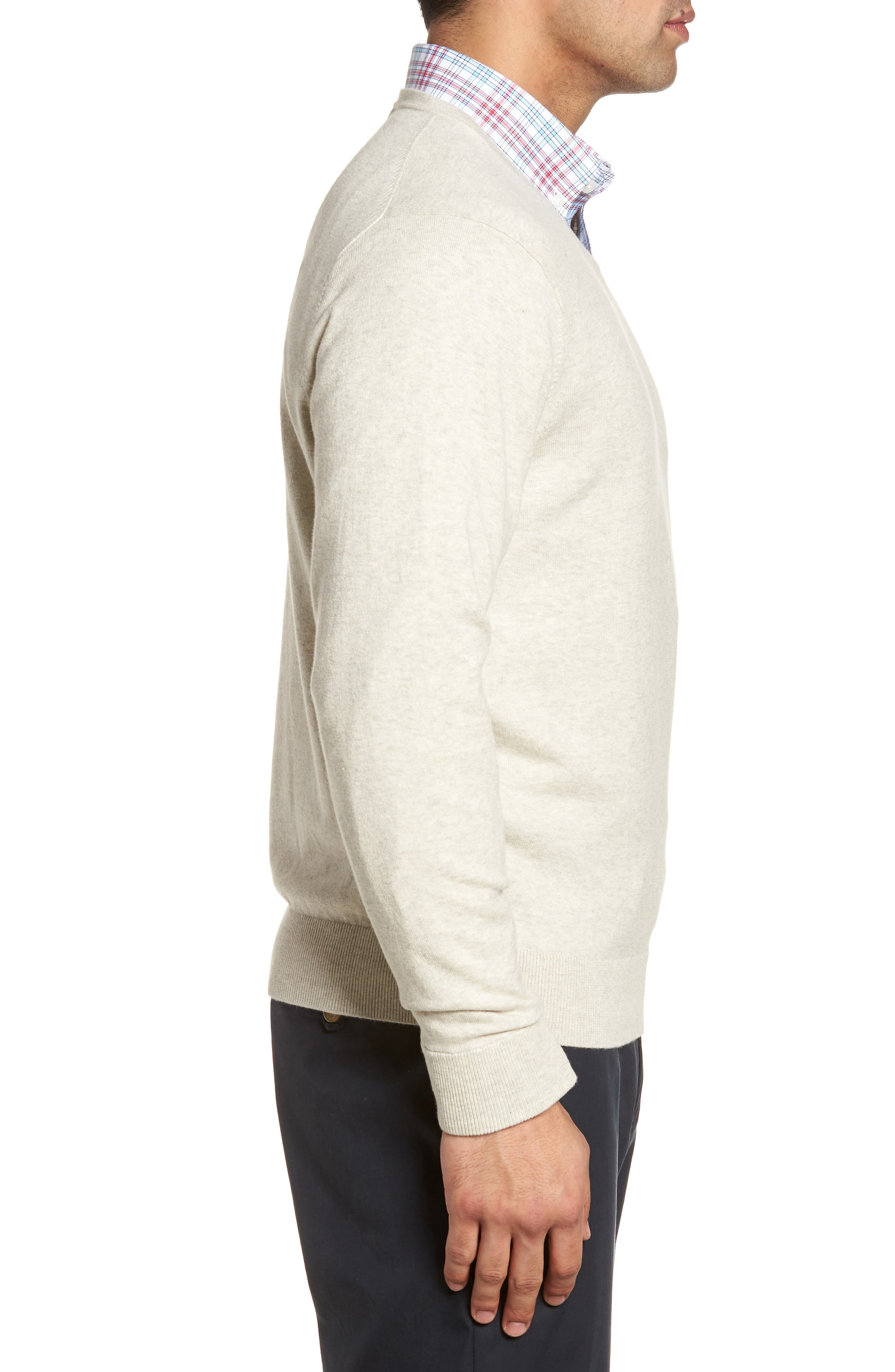 CUTTER & BUCK, Lakemont Classic Fit V-Neck Sweater, Alternate thumbnail 3, color, OATMEAL HEATHER