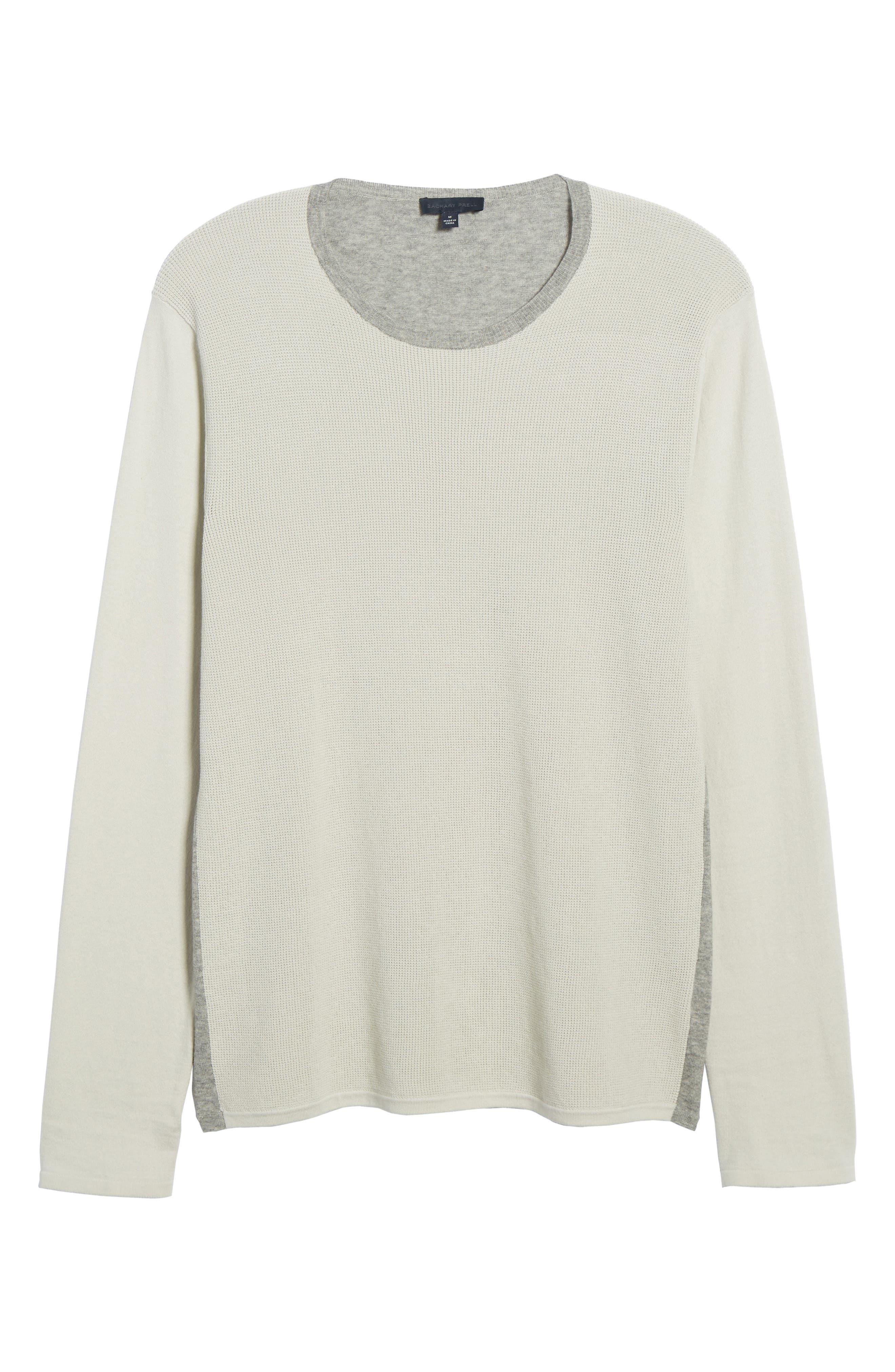ZACHARY PRELL, Lakeside Sweater, Alternate thumbnail 6, color, LIGHT GREY