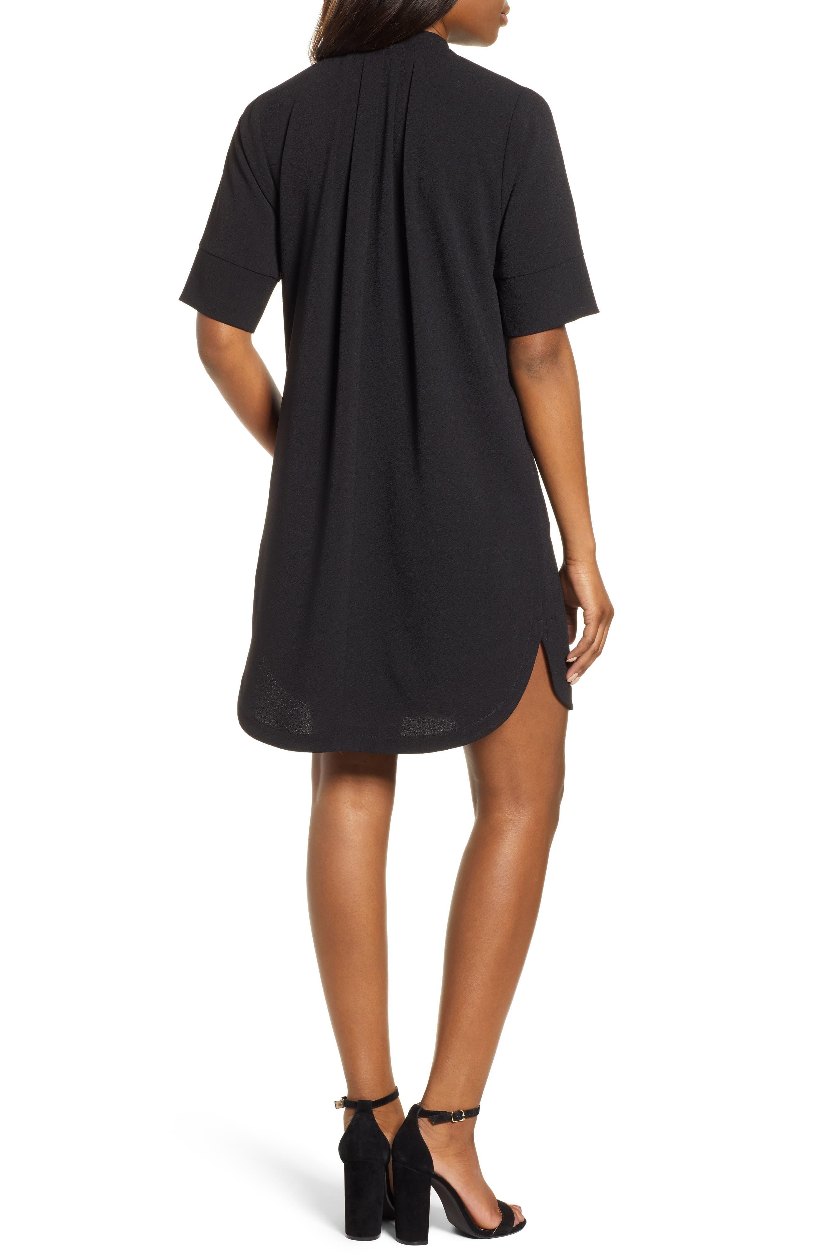 BOBEAU, Pleat Front Curved Hem Shirtdress, Alternate thumbnail 2, color, BLACK