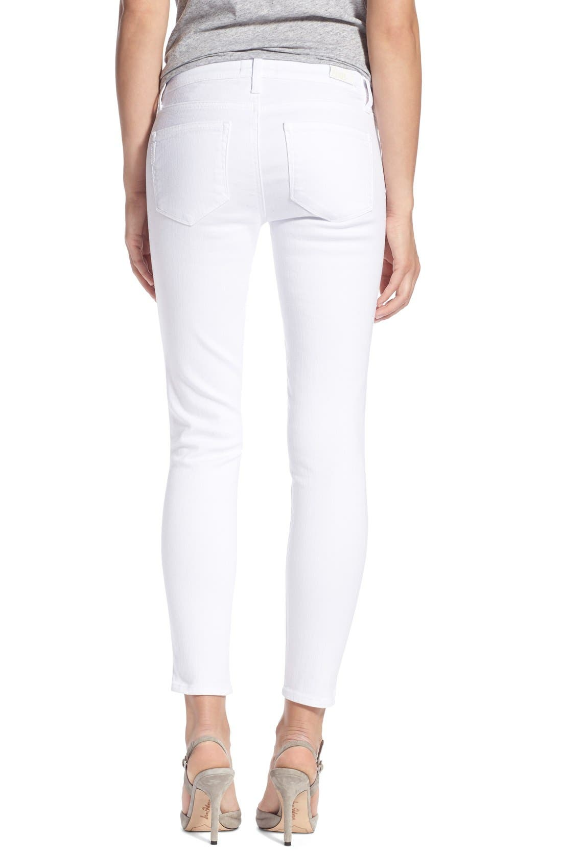 PAIGE, 'Verdugo' Ankle Skinny Jeans, Alternate thumbnail 6, color, ULTRA WHITE