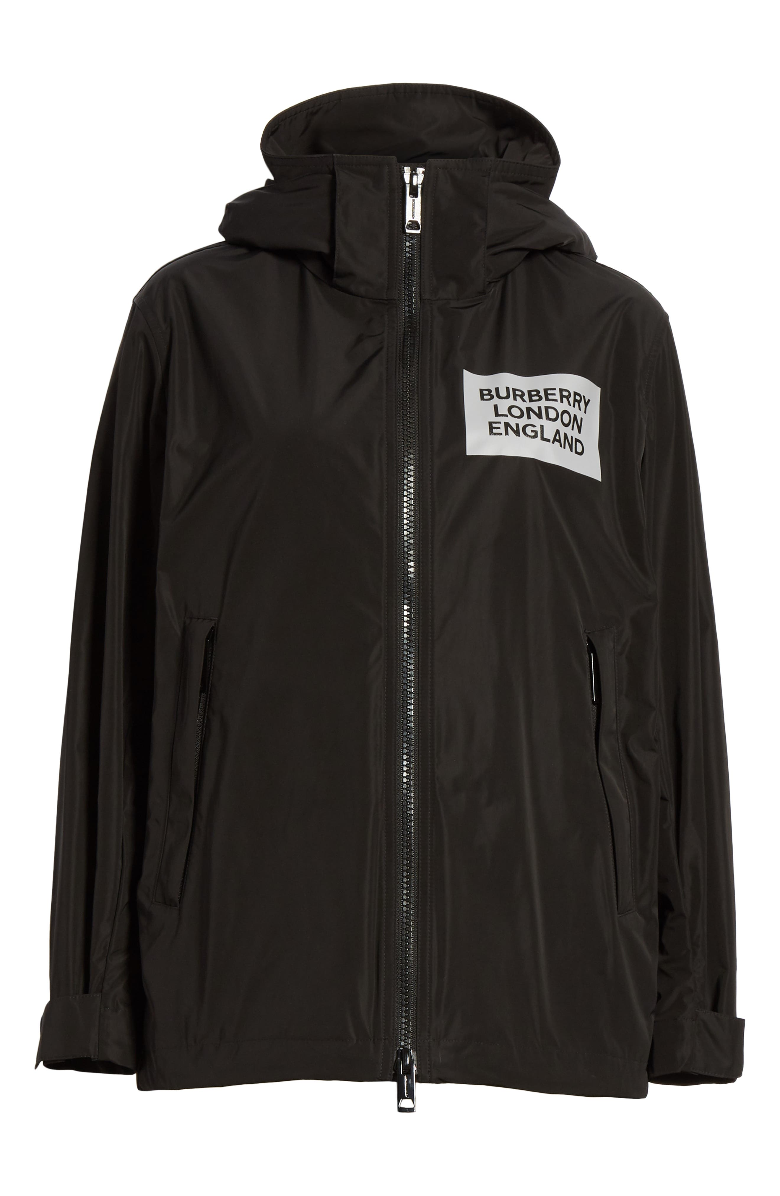 BURBERRY, Kway Millport Logo Print Waterproof Taffeta Jacket, Alternate thumbnail 6, color, BLACK