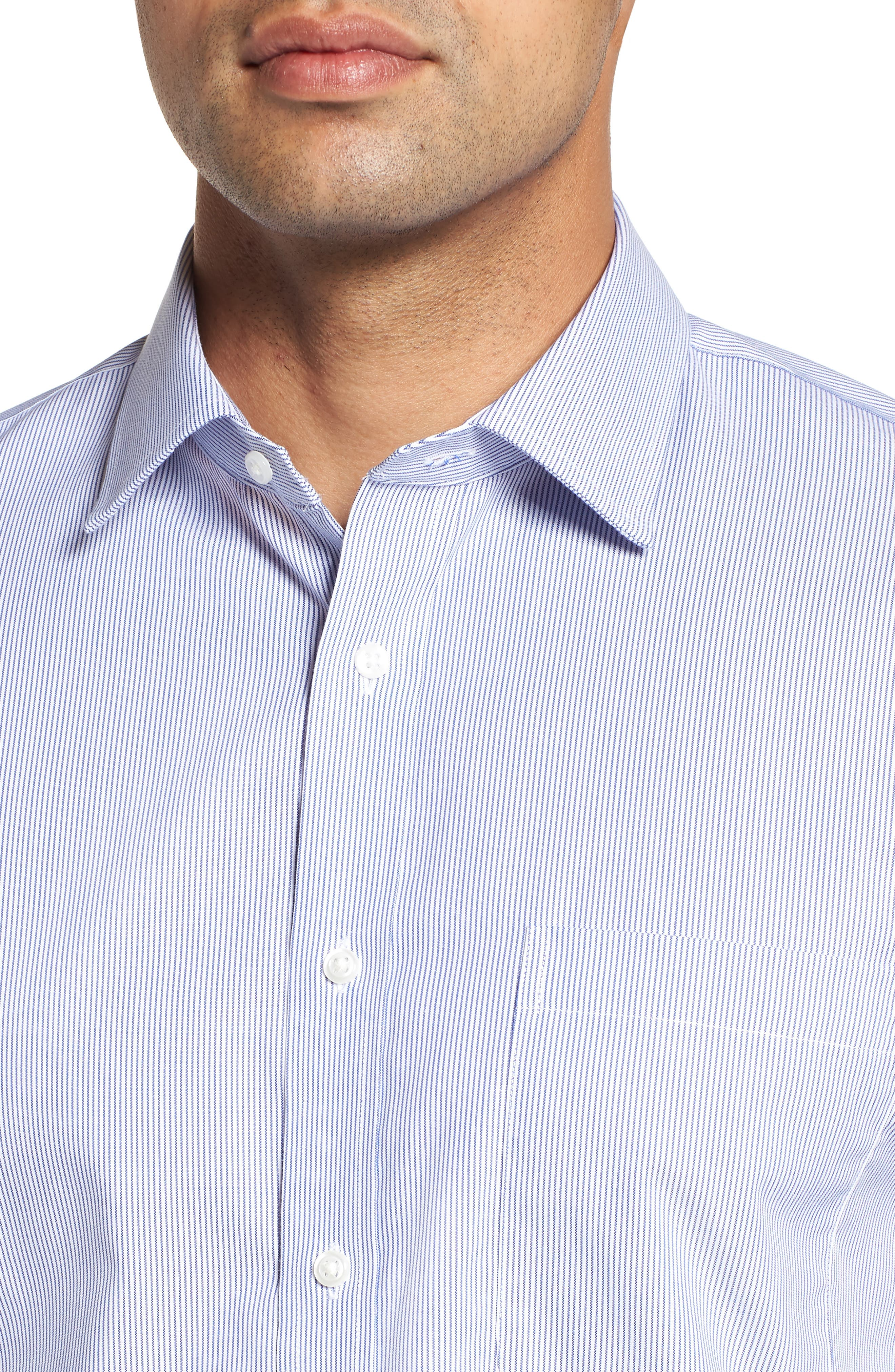 NORDSTROM MEN'S SHOP, Trim Fit Non-Iron Stripe Dress Shirt, Alternate thumbnail 2, color, NAVY PATRIOT