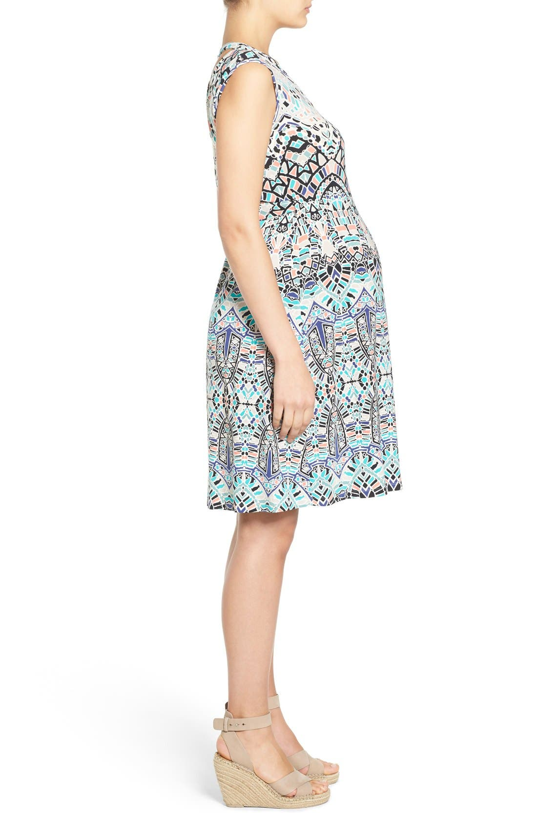 TART MATERNITY, 'Charmaine' Print Jersey Maternity Wrap Dress, Alternate thumbnail 5, color, INK TILES