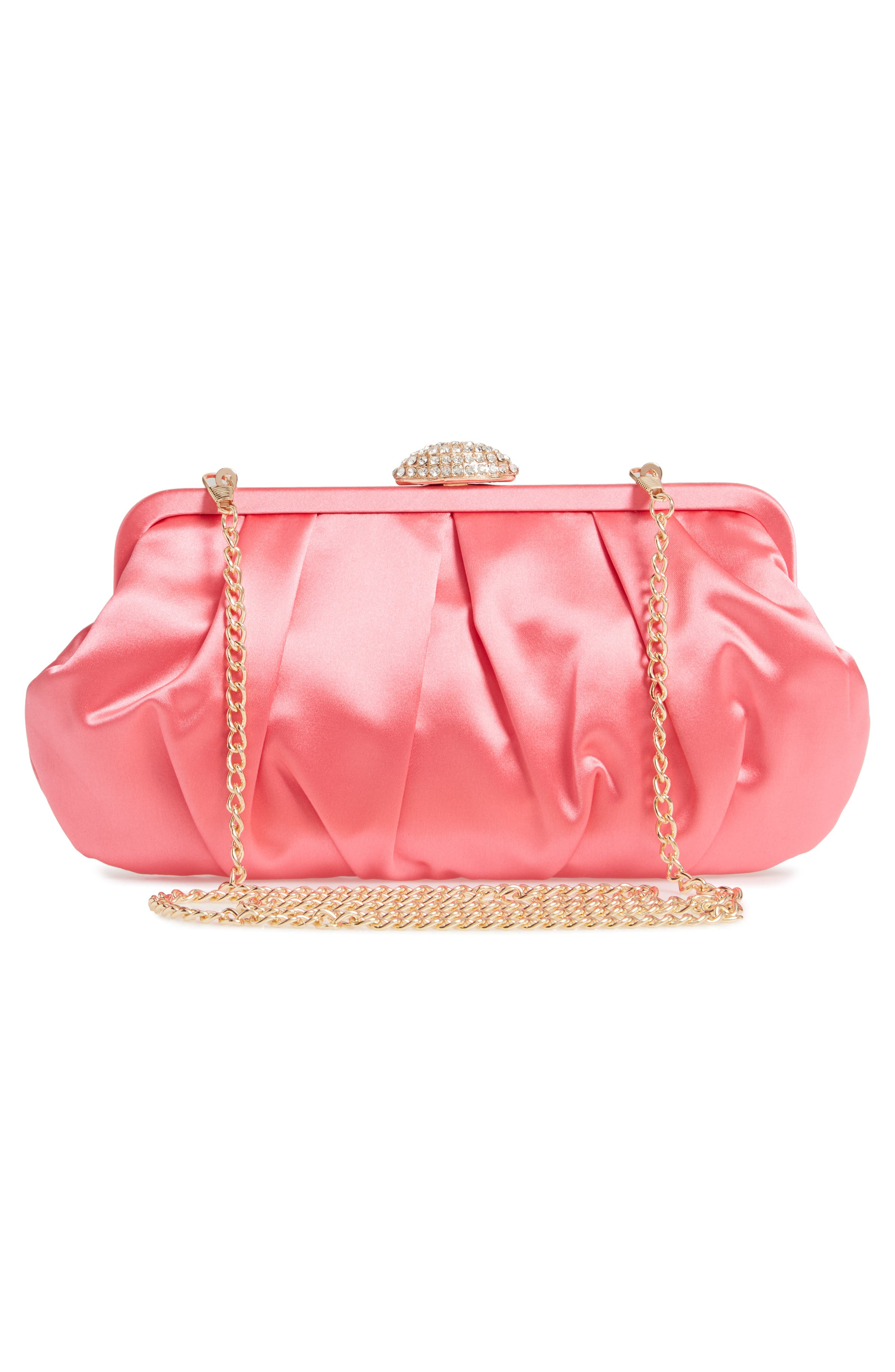 NINA, Concord Pleated Satin Frame Clutch, Alternate thumbnail 3, color, STRAWBERRY PUNCH