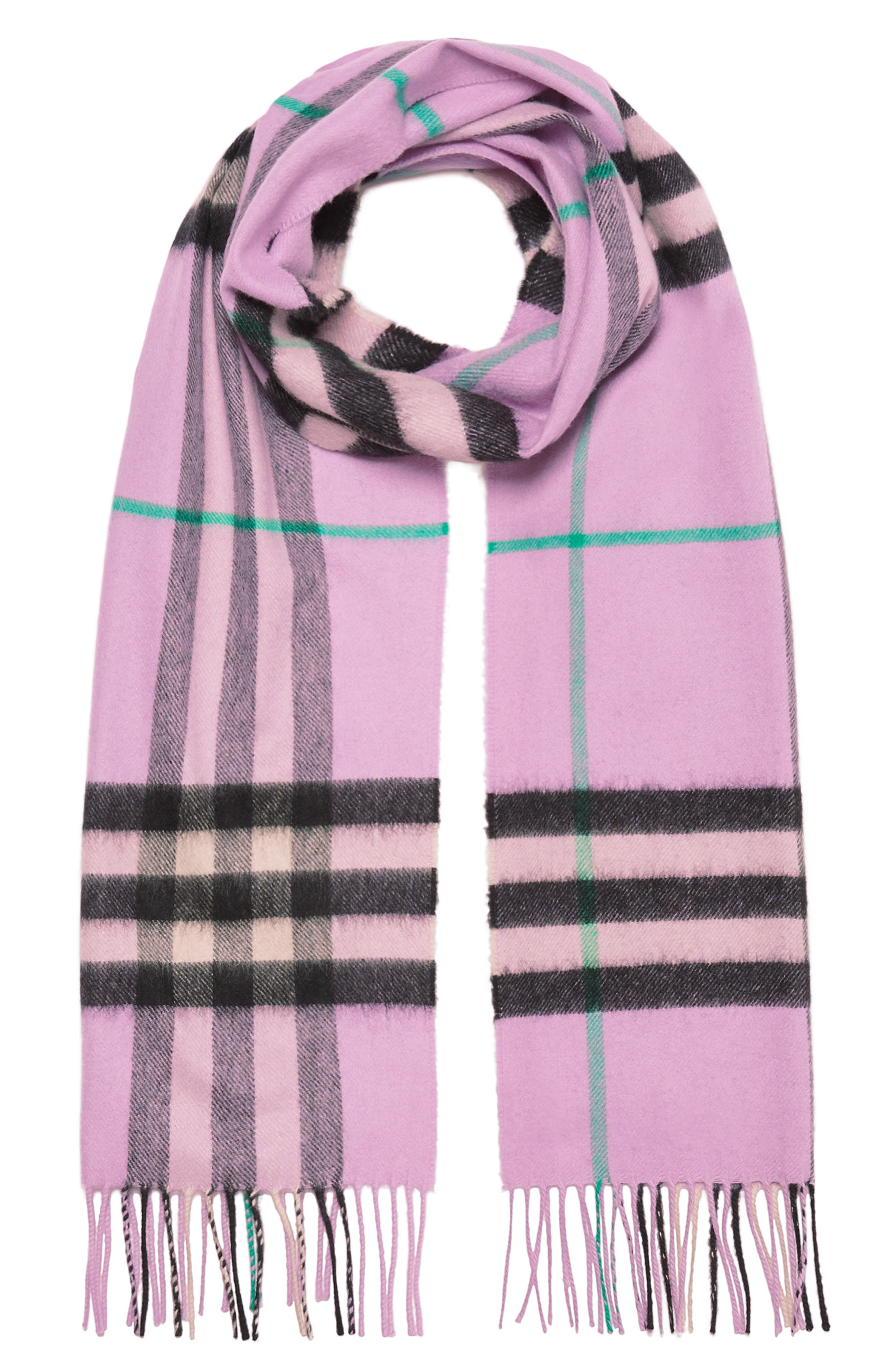 BURBERRY, Giant Check Cashmere Scarf, Alternate thumbnail 3, color, PALE HEATHER