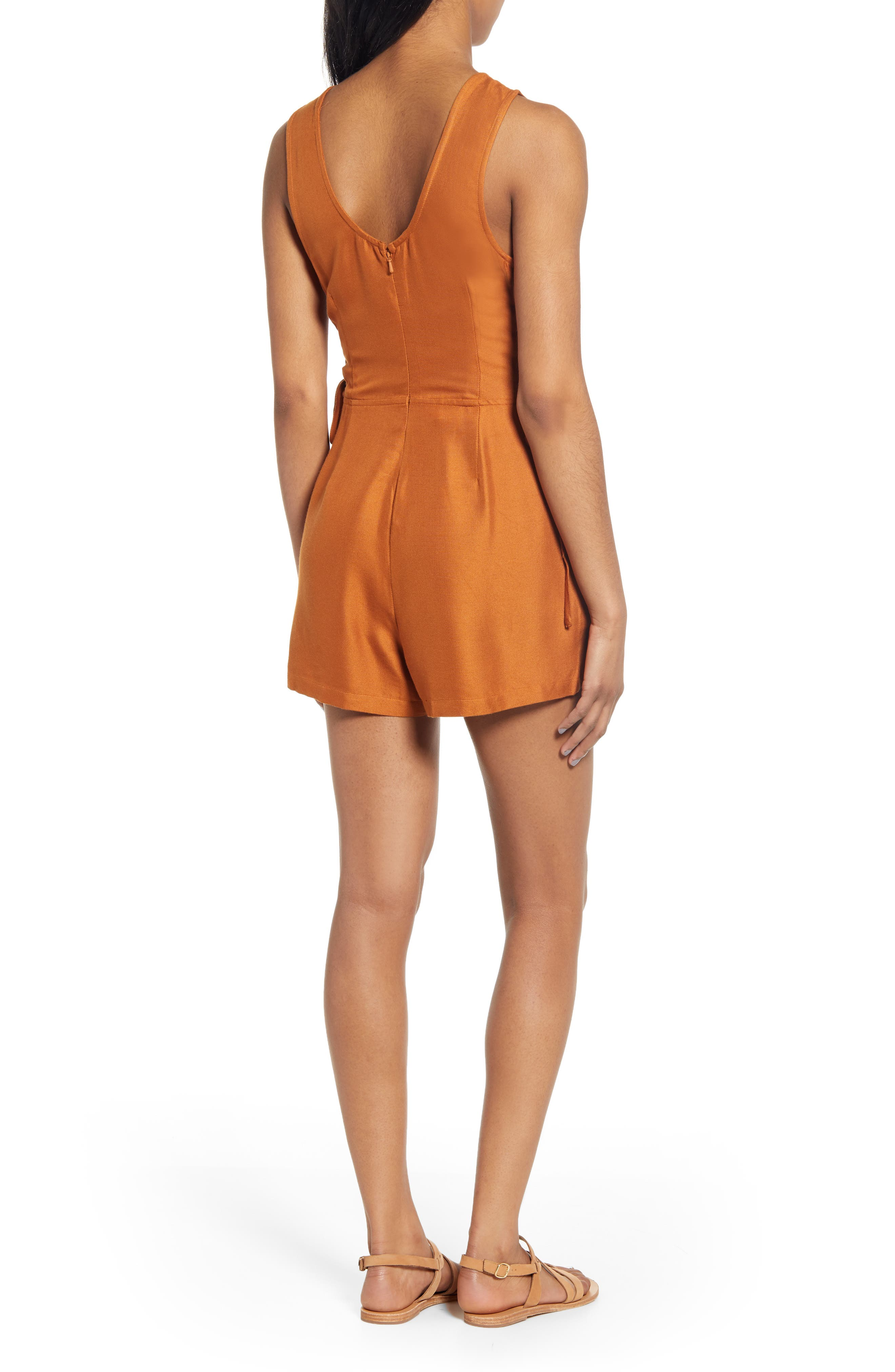 RVCA, Freddie Lace-Up Romper, Alternate thumbnail 2, color, GINGER
