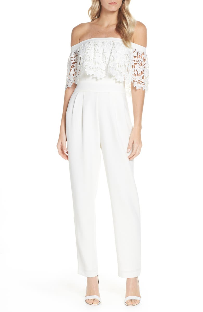 Eliza J Suits POPOVER LACE OFF THE SHOULDER JUMPSUIT