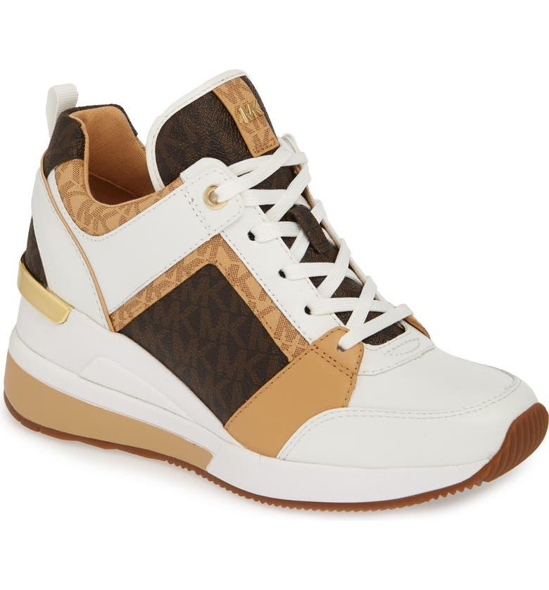 1f3bfe22d43 Michael Michael Kors Georgie Wedge Sneaker In Butternut Leather ...