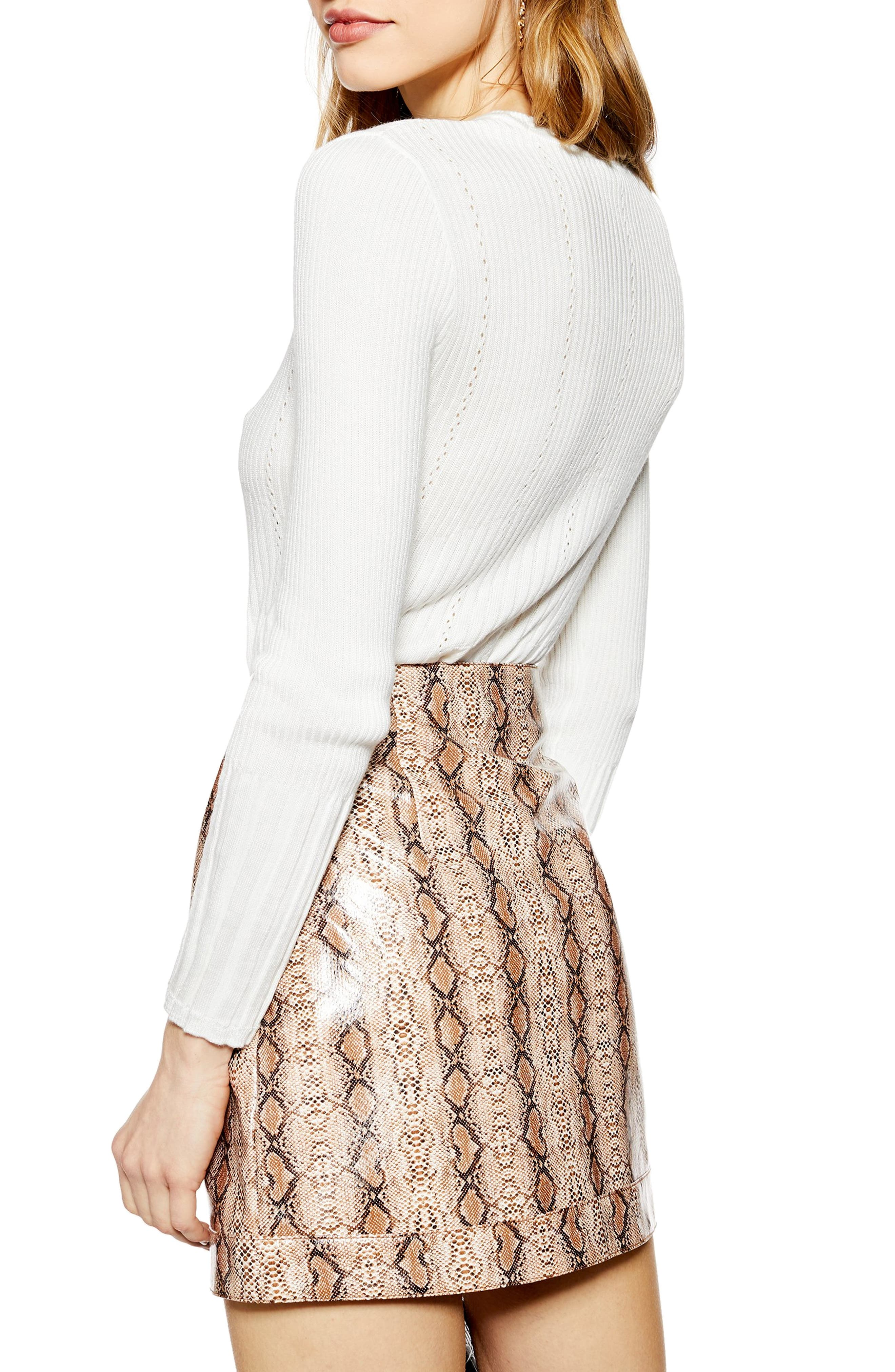 TOPSHOP, Pointelle Sweater, Alternate thumbnail 2, color, IVORY