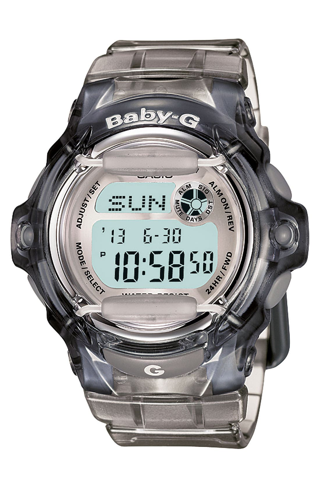 G-SHOCK BABY-G, Baby-G Jelly Watch, 46mm, Main thumbnail 1, color, GREY