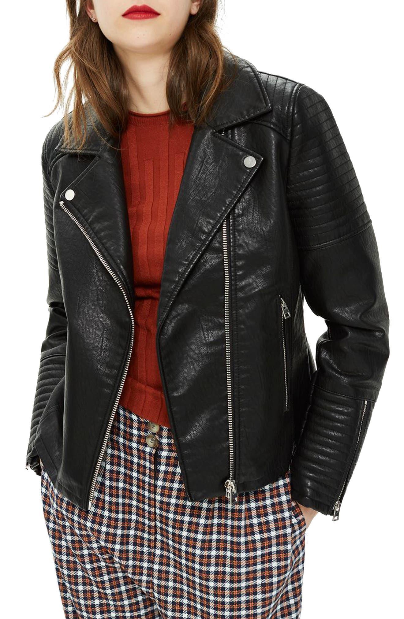 TOPSHOP, Rosa Biker Jacket, Main thumbnail 1, color, BLACK