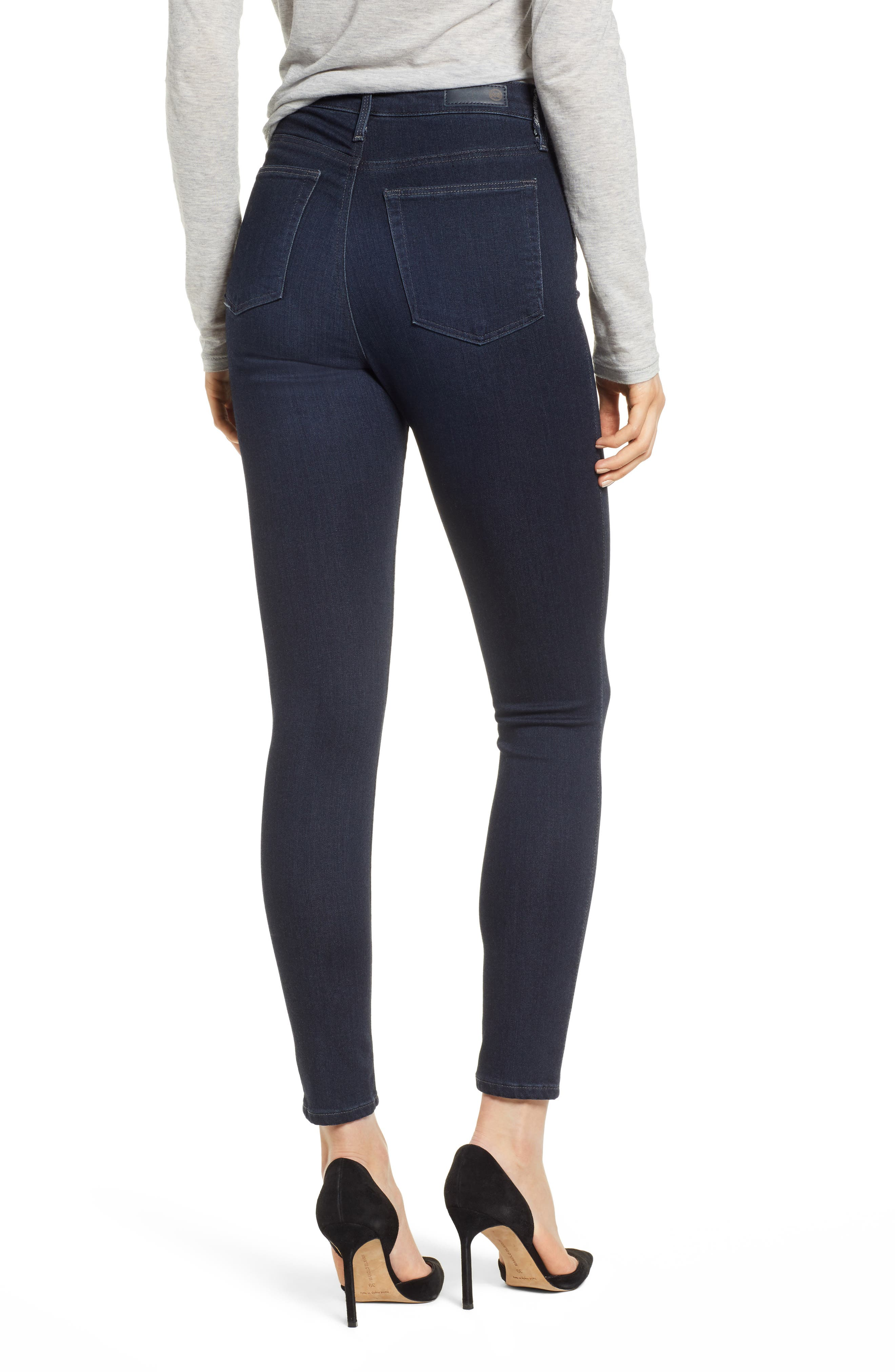 AG, The Mila Super High Waist Ankle Skinny Jeans, Alternate thumbnail 2, color, AUDACIOUS