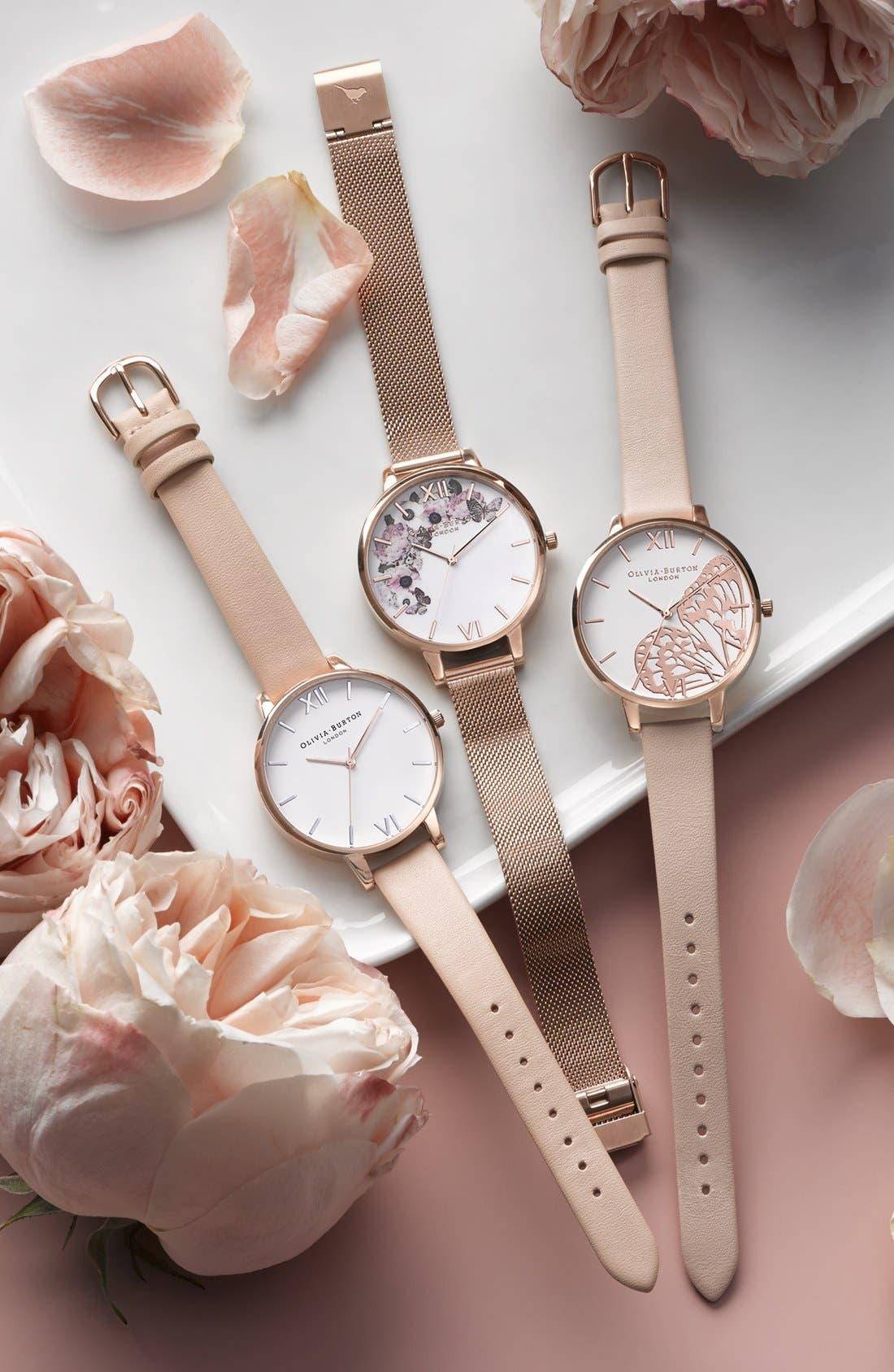 OLIVIA BURTON, Signature Florals Mesh Bracelet Watch, 38mm, Alternate thumbnail 8, color, ROSE GOLD/ ROSE GOLD/ WHITE