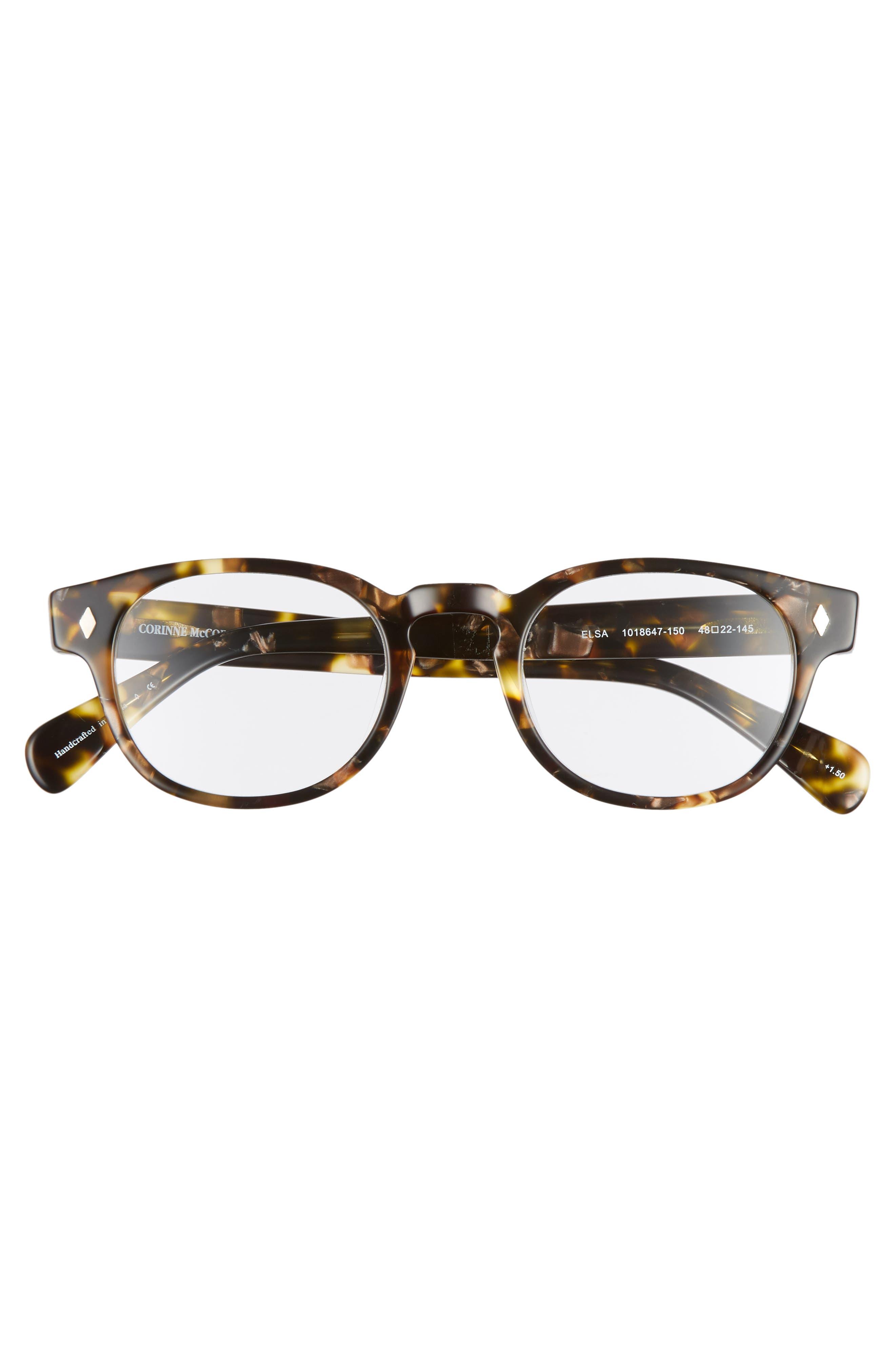 CORINNE MCCORMACK, Elsa 48mm Reading Glasses, Alternate thumbnail 3, color, METALLIC TORTOISE