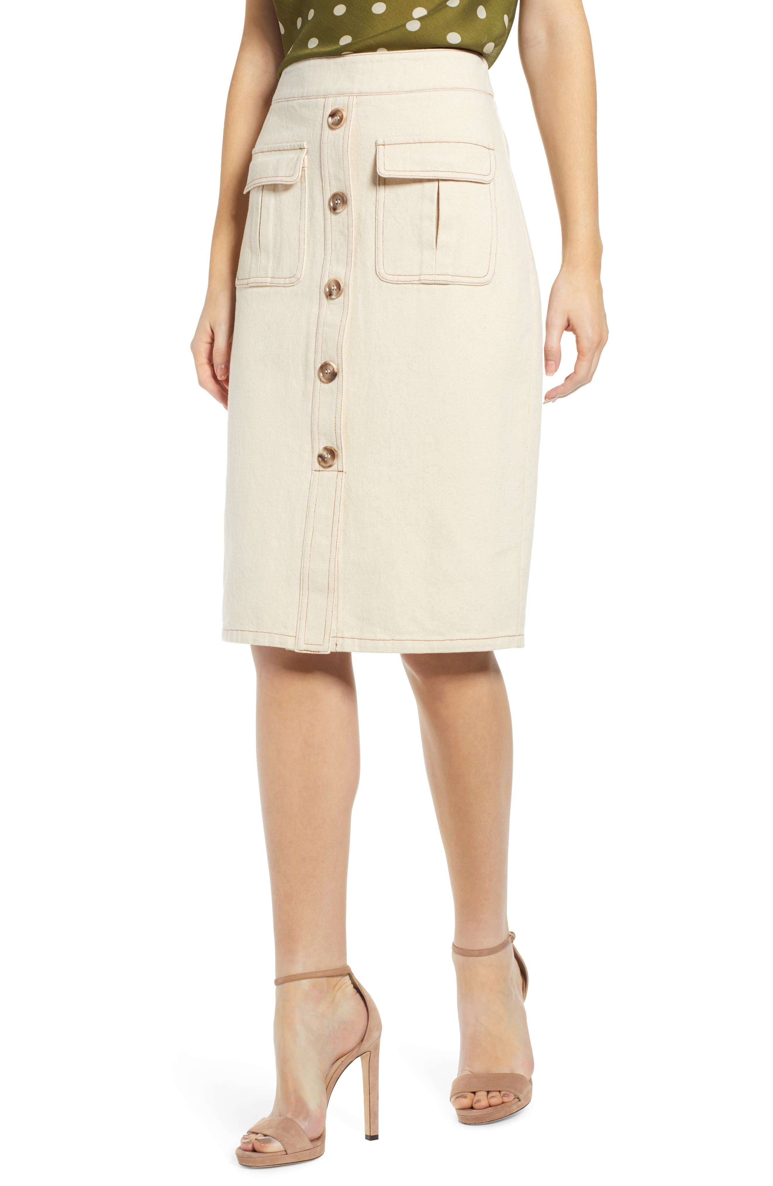 CHRISELLE LIM COLLECTION Chriselle Lim Marine Midi Skirt, Main, color, BONE