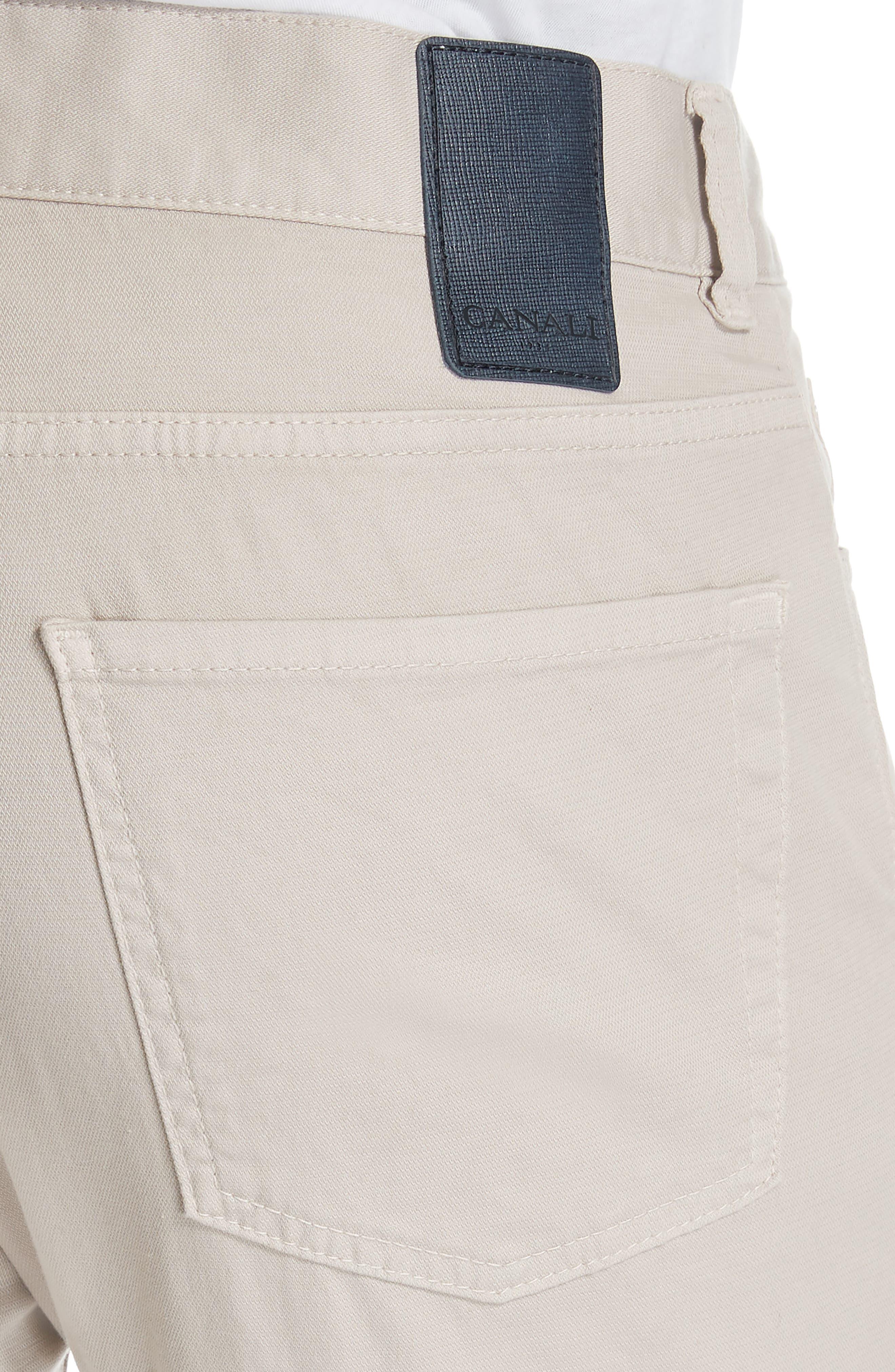 CANALI, Stretch Cotton Five Pocket Trousers, Alternate thumbnail 5, color, BEIGE