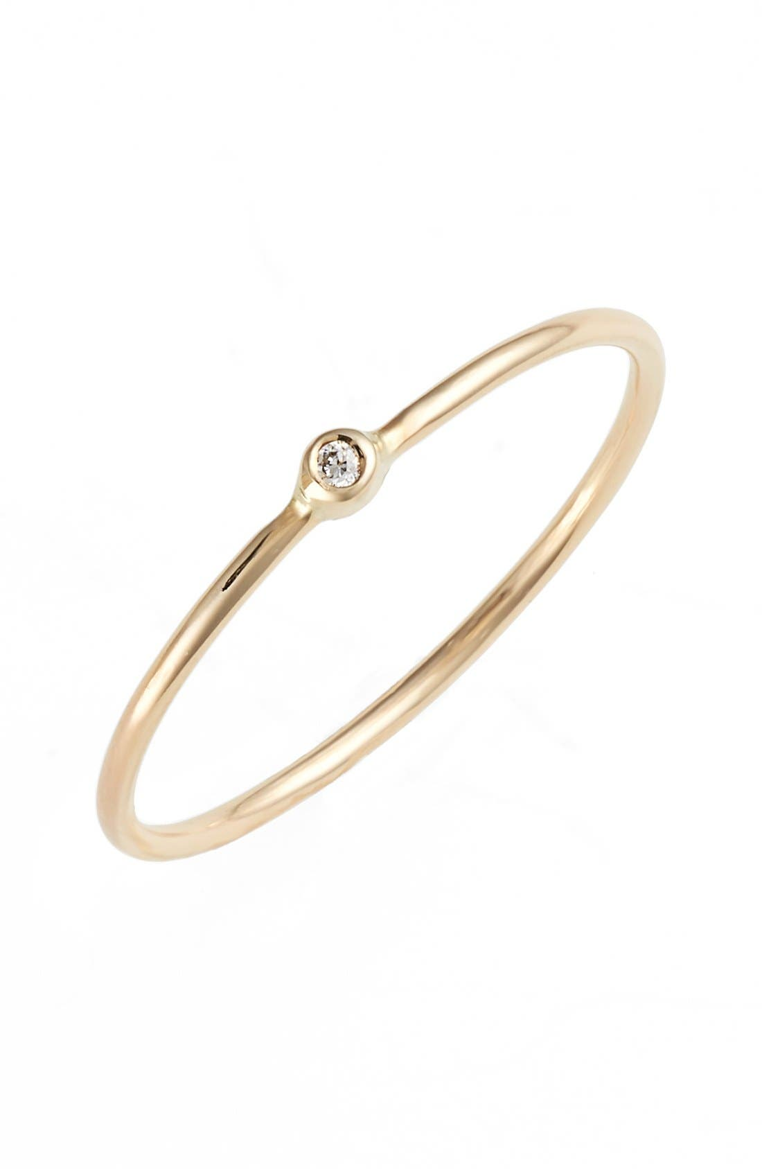ZOË CHICCO, Diamond Bezel Ring, Main thumbnail 1, color, YELLOW GOLD