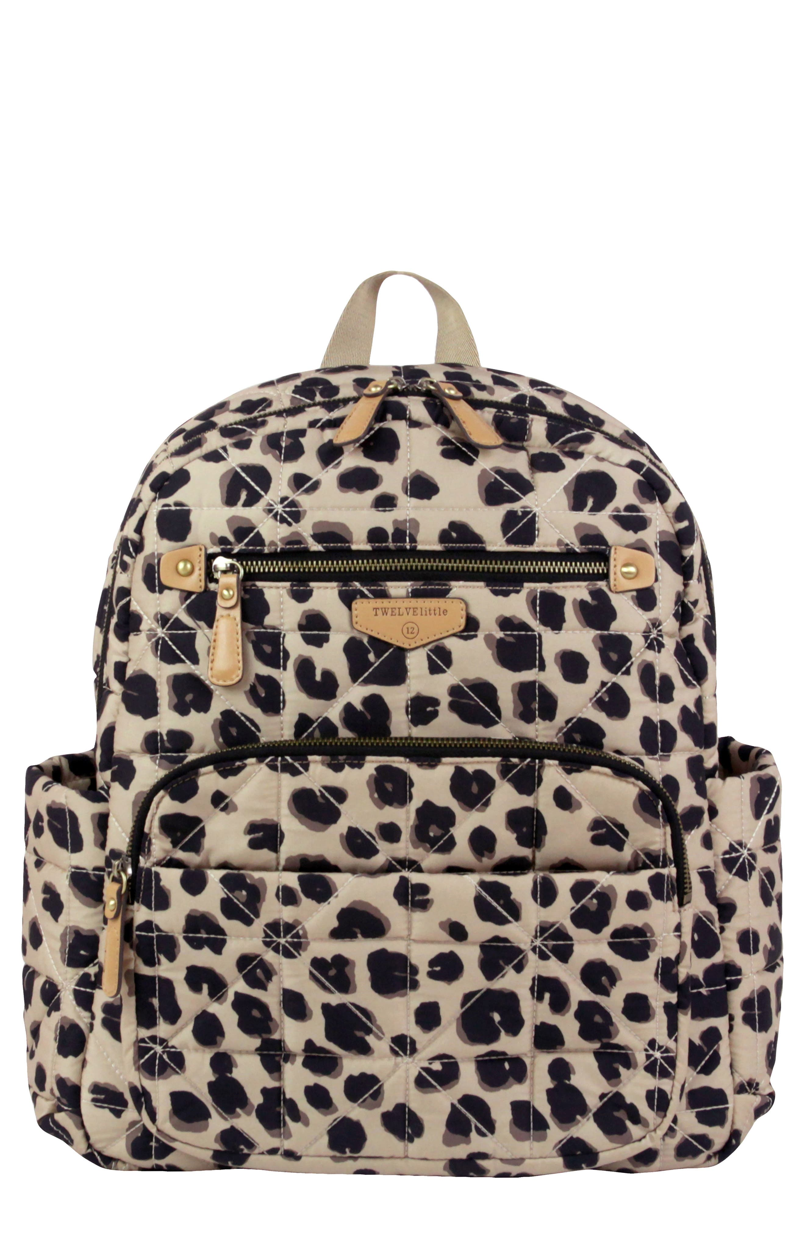 TWELVELITTLE, Quilted Water Resistant Nylon Diaper Backpack, Main thumbnail 1, color, LEOPARD PRINT