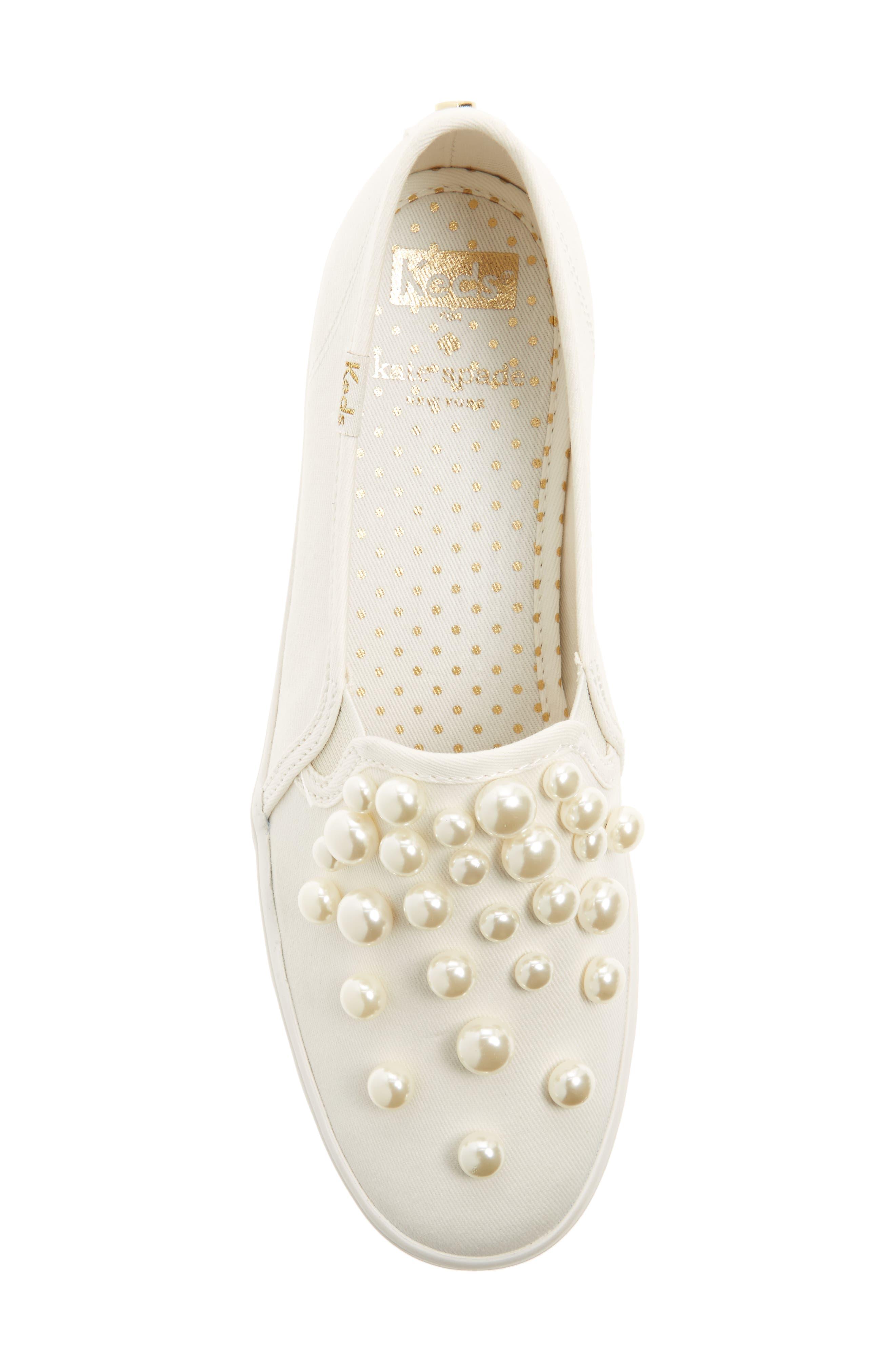 KEDS<SUP>®</SUP> FOR KATE SPADE NEW YORK, triple decker embellished slip-on sneaker, Alternate thumbnail 5, color, CREAM