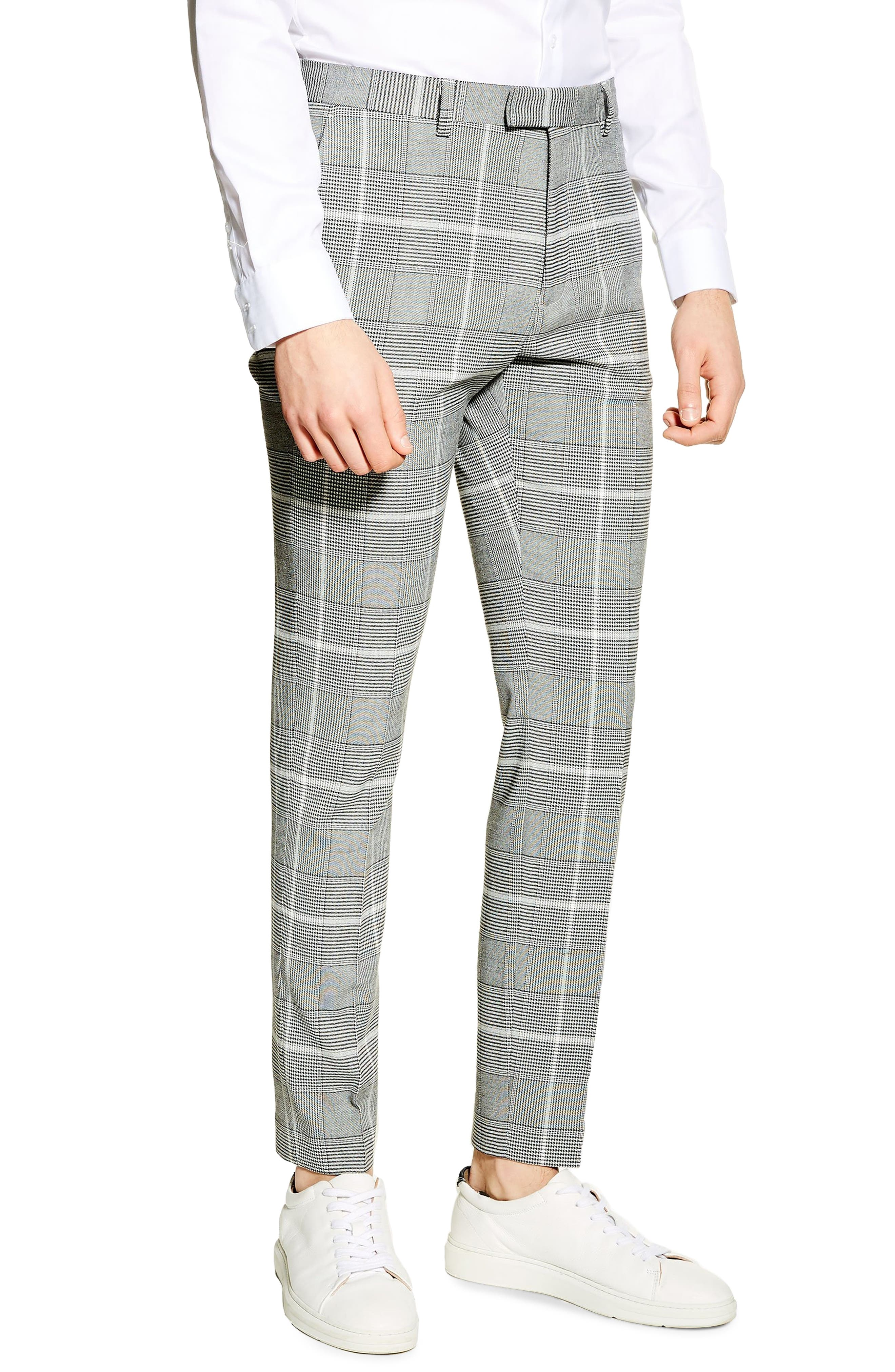 TOPMAN, Skinny Fit Check Trousers, Main thumbnail 1, color, 020