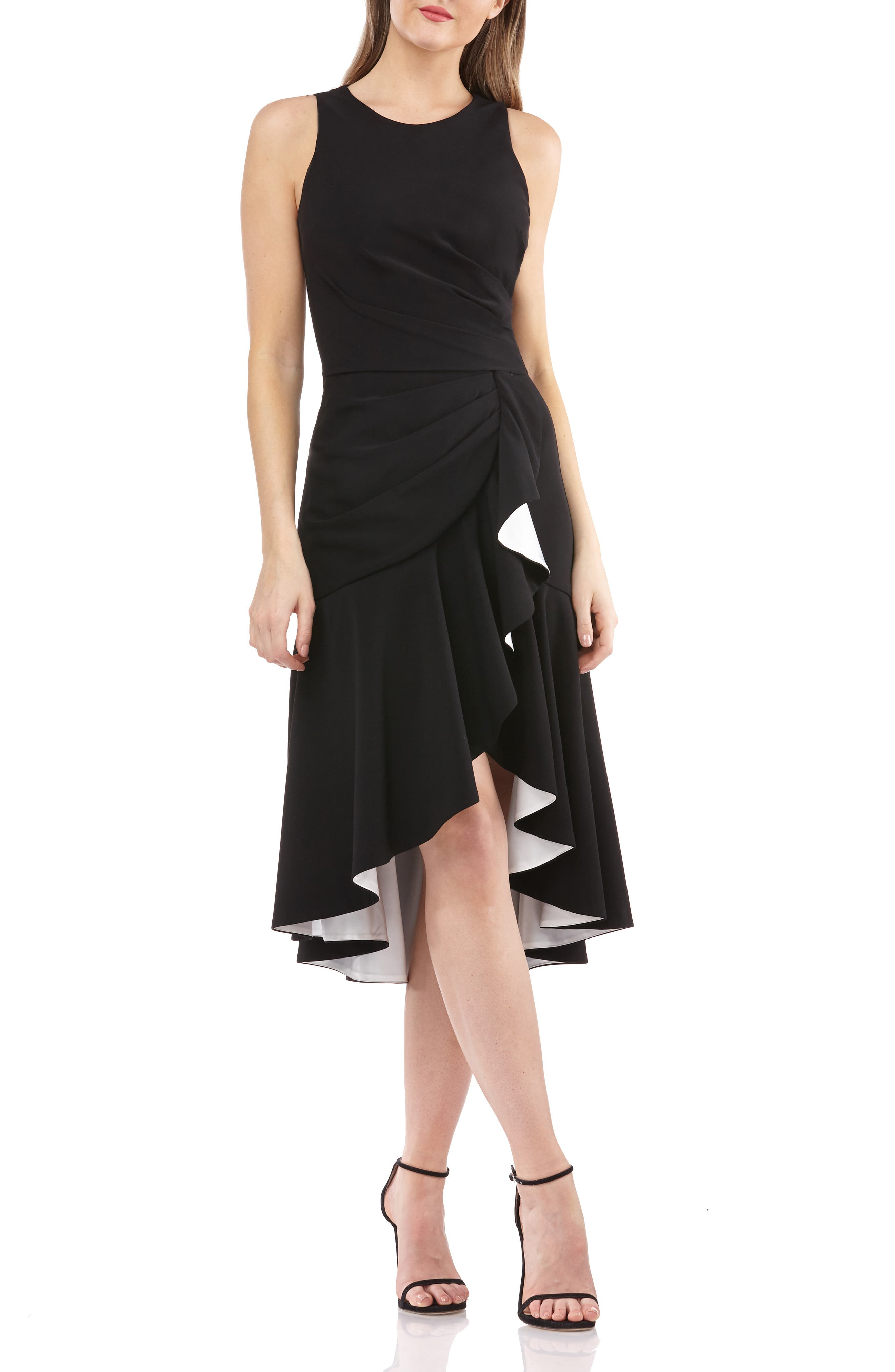 Carmen Marc Valvo Infusion High/low Crepe Cocktail Dress, Black