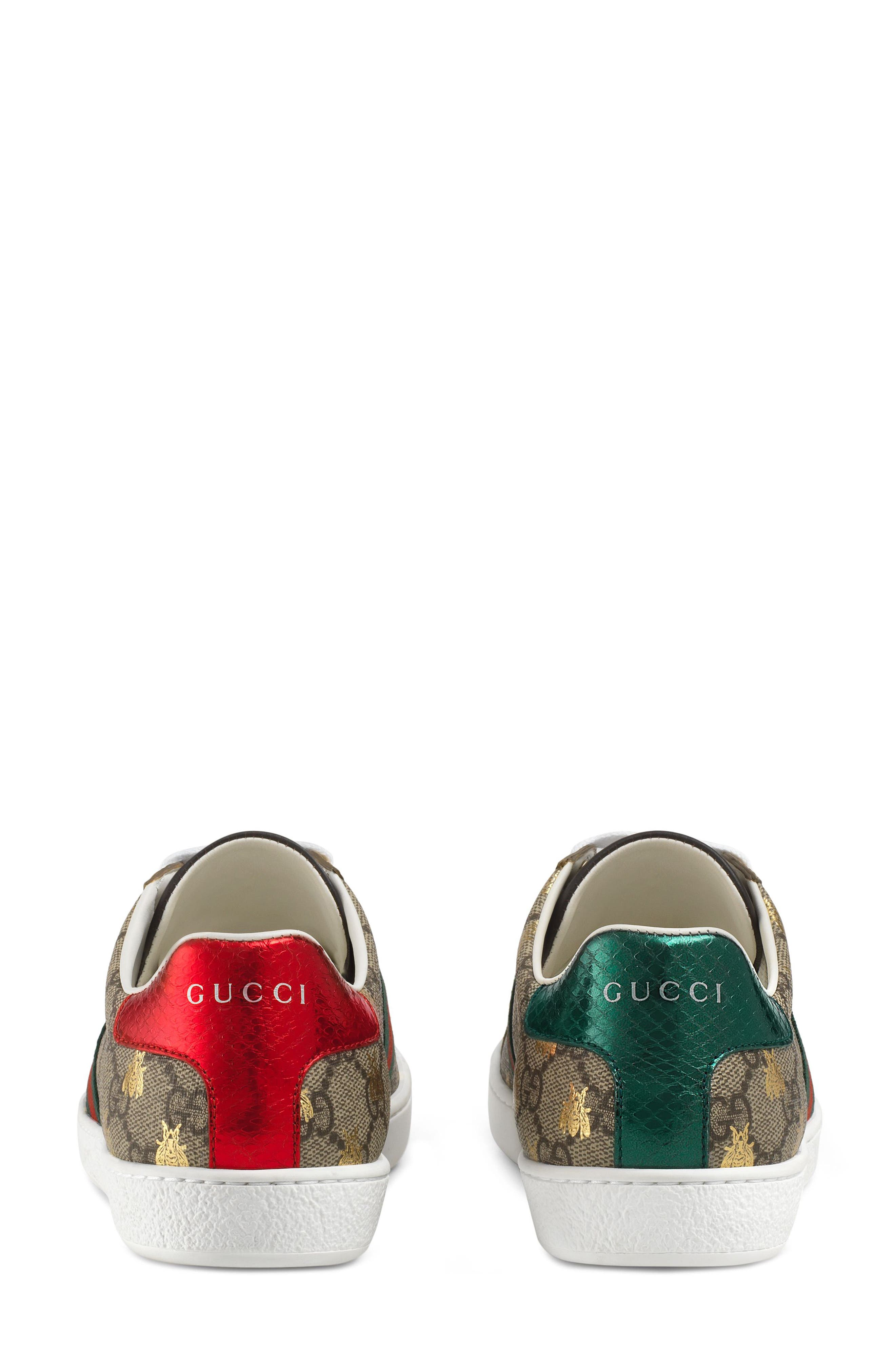 GUCCI, New Ace Monogram Bee Sneaker, Alternate thumbnail 5, color, BEIGE/ GOLD
