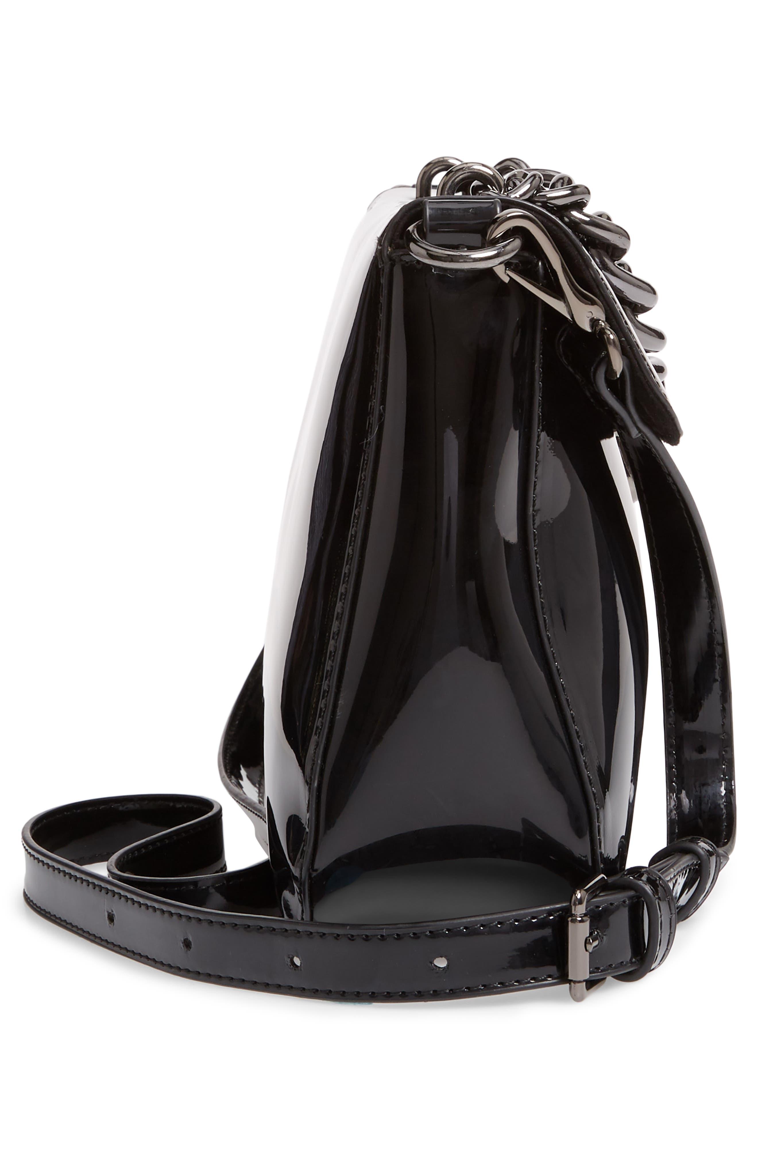 SOLE SOCIETY, Ladan Faux Leather Top Handle Satchel, Alternate thumbnail 5, color, 001