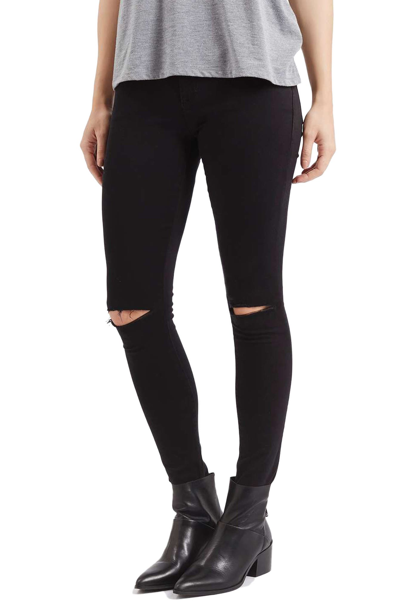 TOPSHOP, Moto Leigh Ripped Skinny Jeans, Main thumbnail 1, color, 001