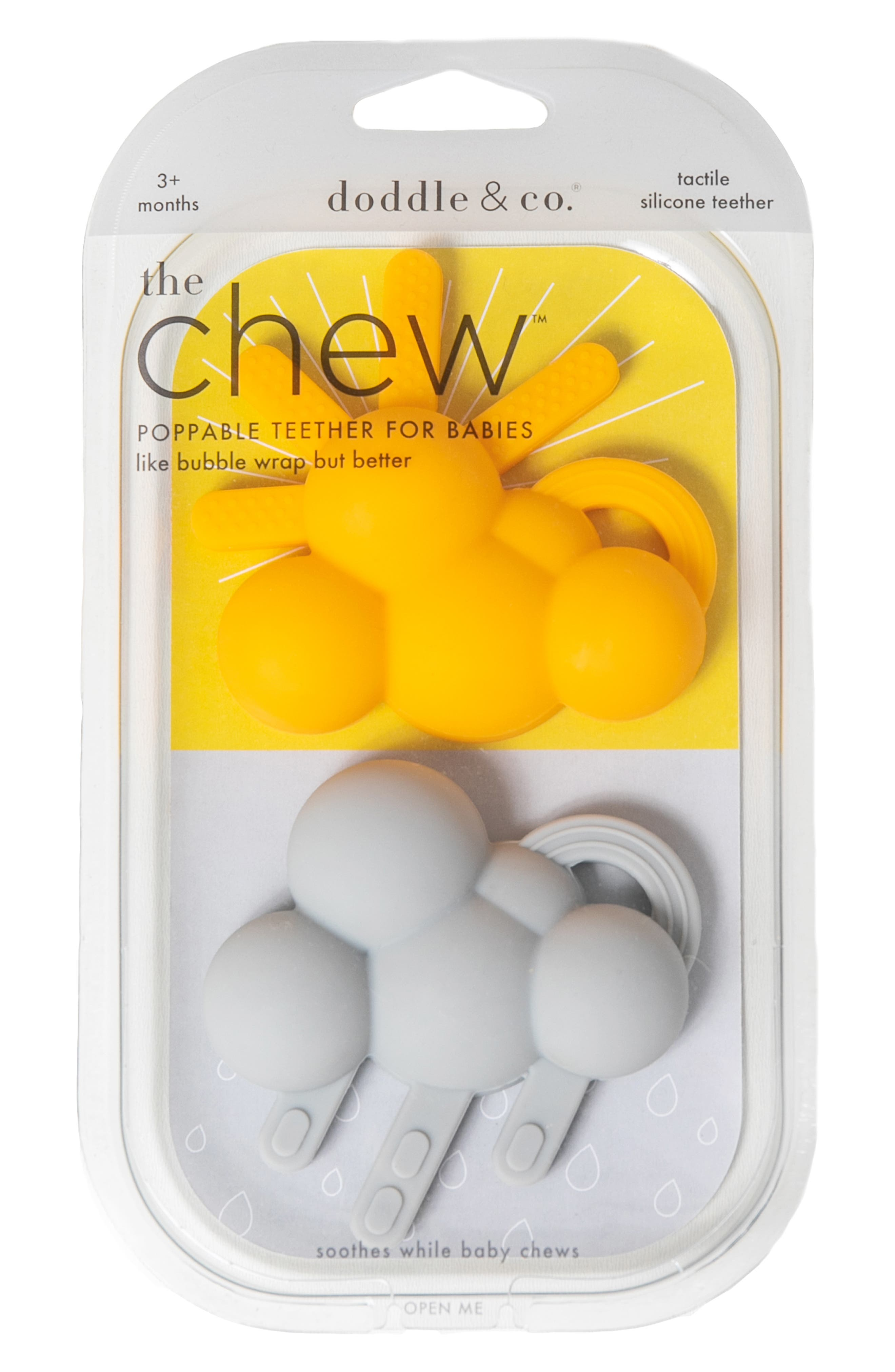 DODDLE & CO,  2-Pack The Chew Teether, Alternate thumbnail 3, color, HELLO SUNSHINE/ LIKE RAIN