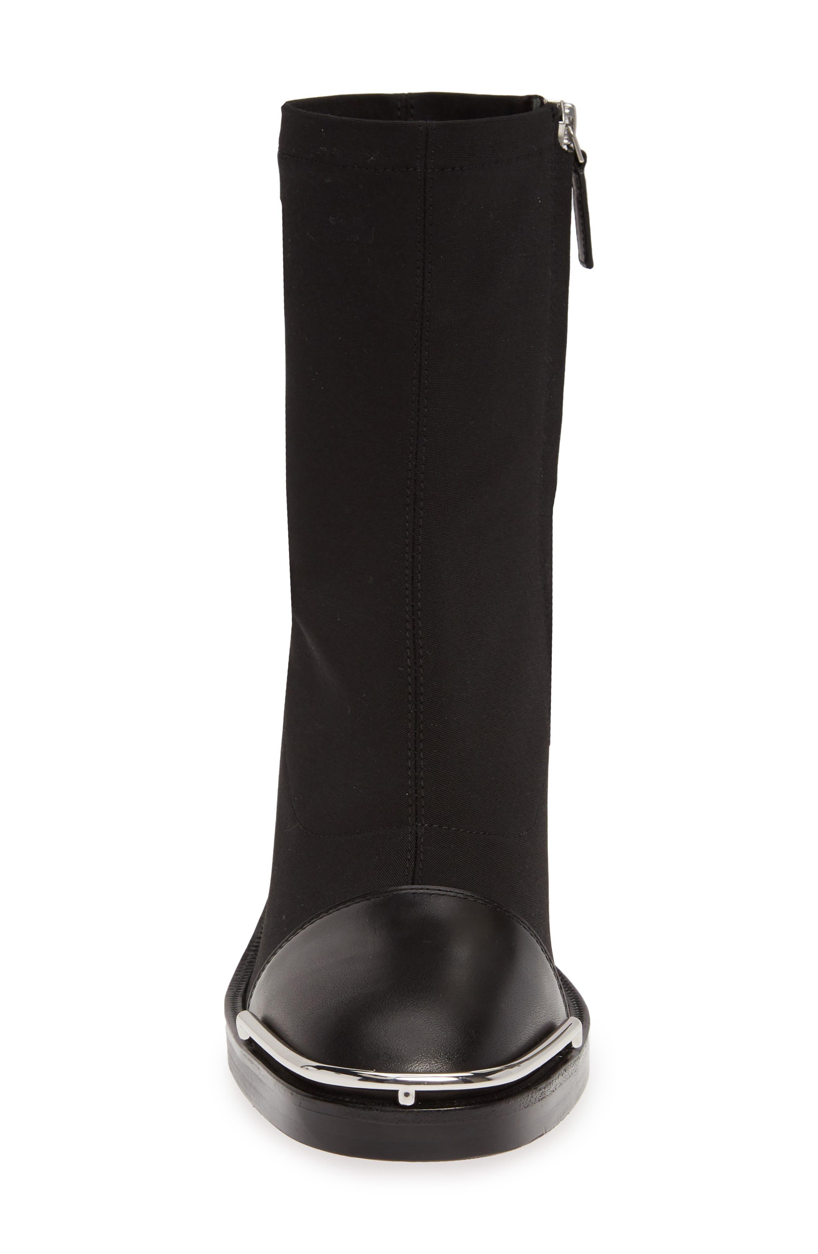 ALEXANDER WANG, Hailey Halo Sock Bootie, Alternate thumbnail 4, color, BLACK