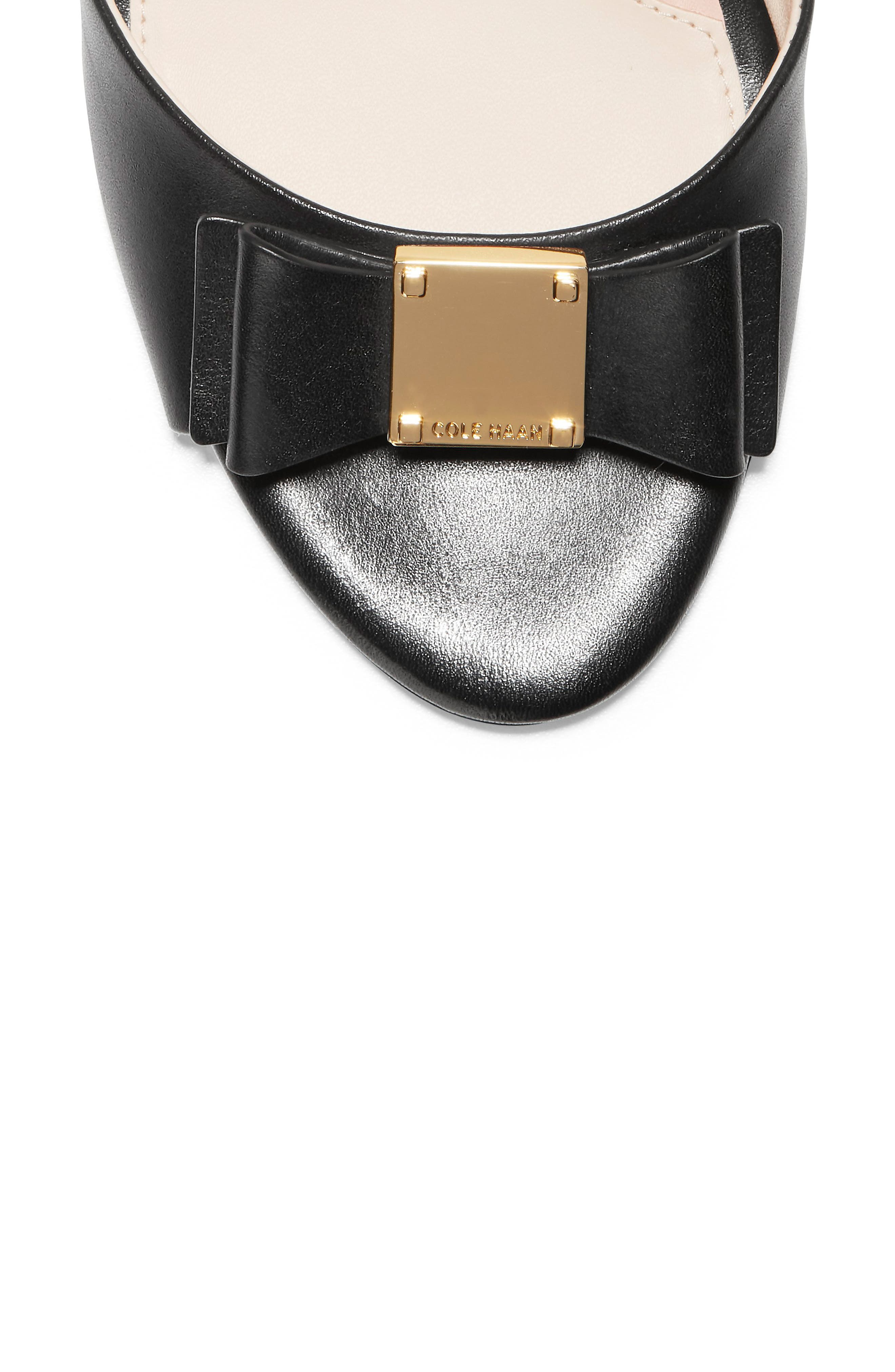 COLE HAAN, Tali Bow Wedge Sandal, Alternate thumbnail 7, color, BLACK LEATHER