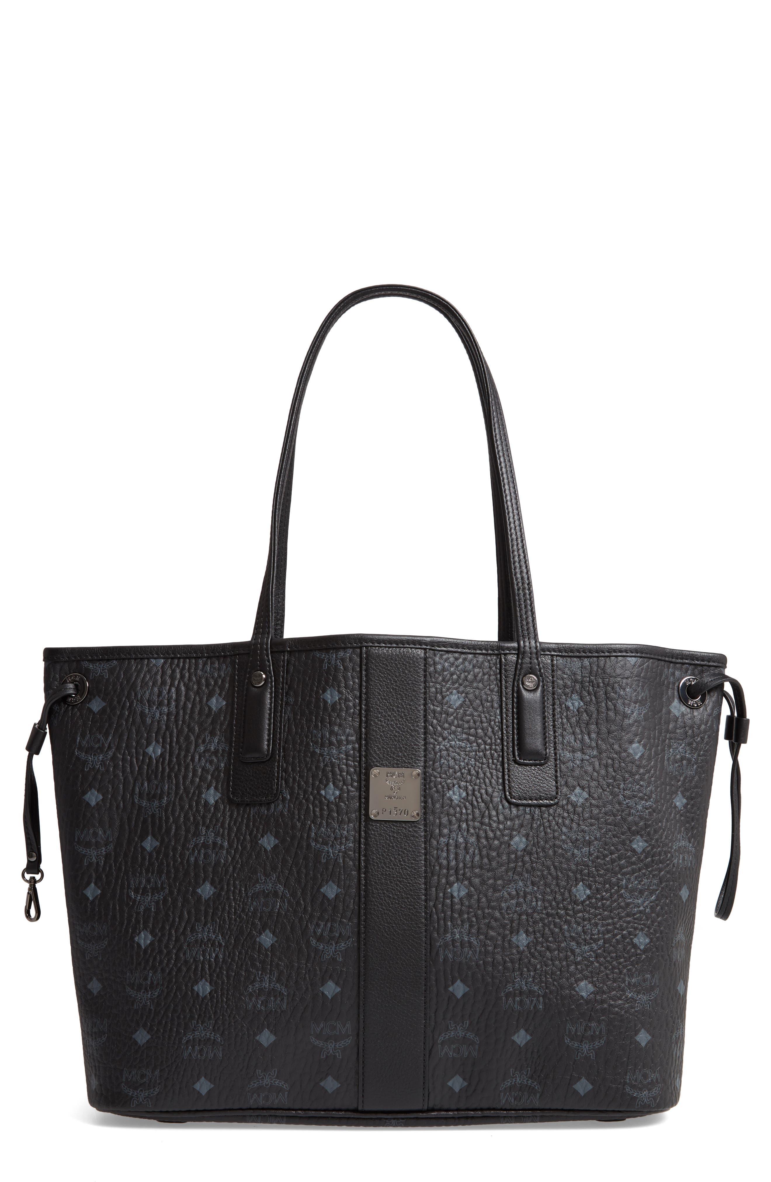 MCM Medium Liz Reversible Shopper, Main, color, JET BLACK