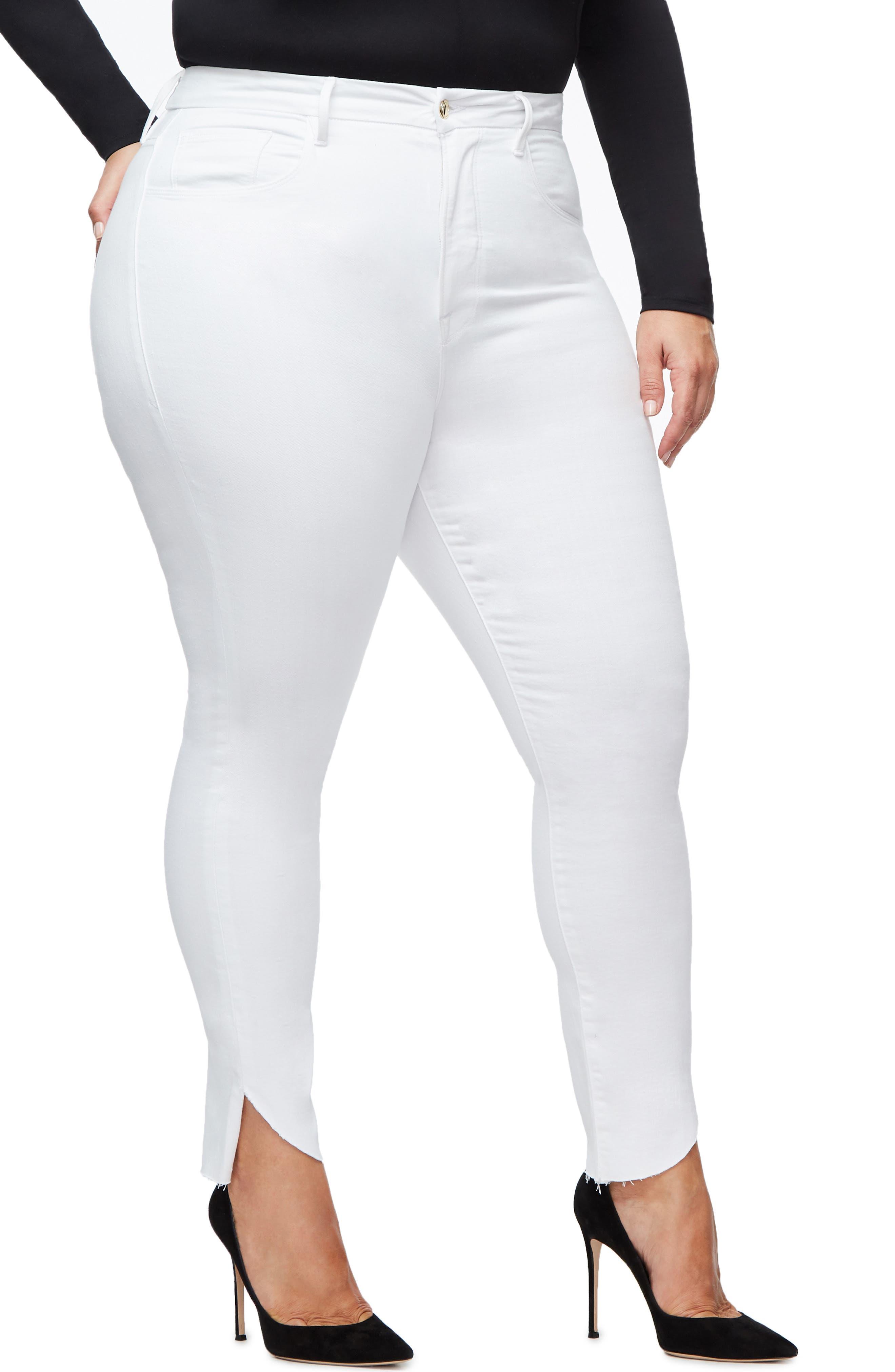 GOOD AMERICAN, Good Legs Cascade Hem Skinny Jeans, Alternate thumbnail 8, color, WHITE001