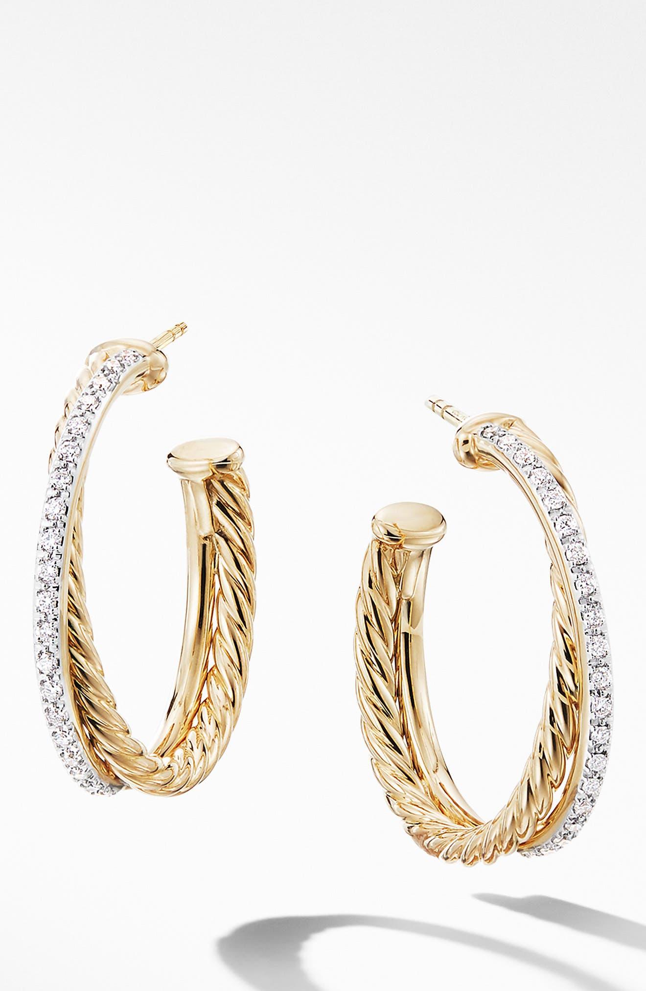 DAVID YURMAN, Medium Crossover Hoop Earrings with Diamonds, Main thumbnail 1, color, GOLD/ DIAMOND